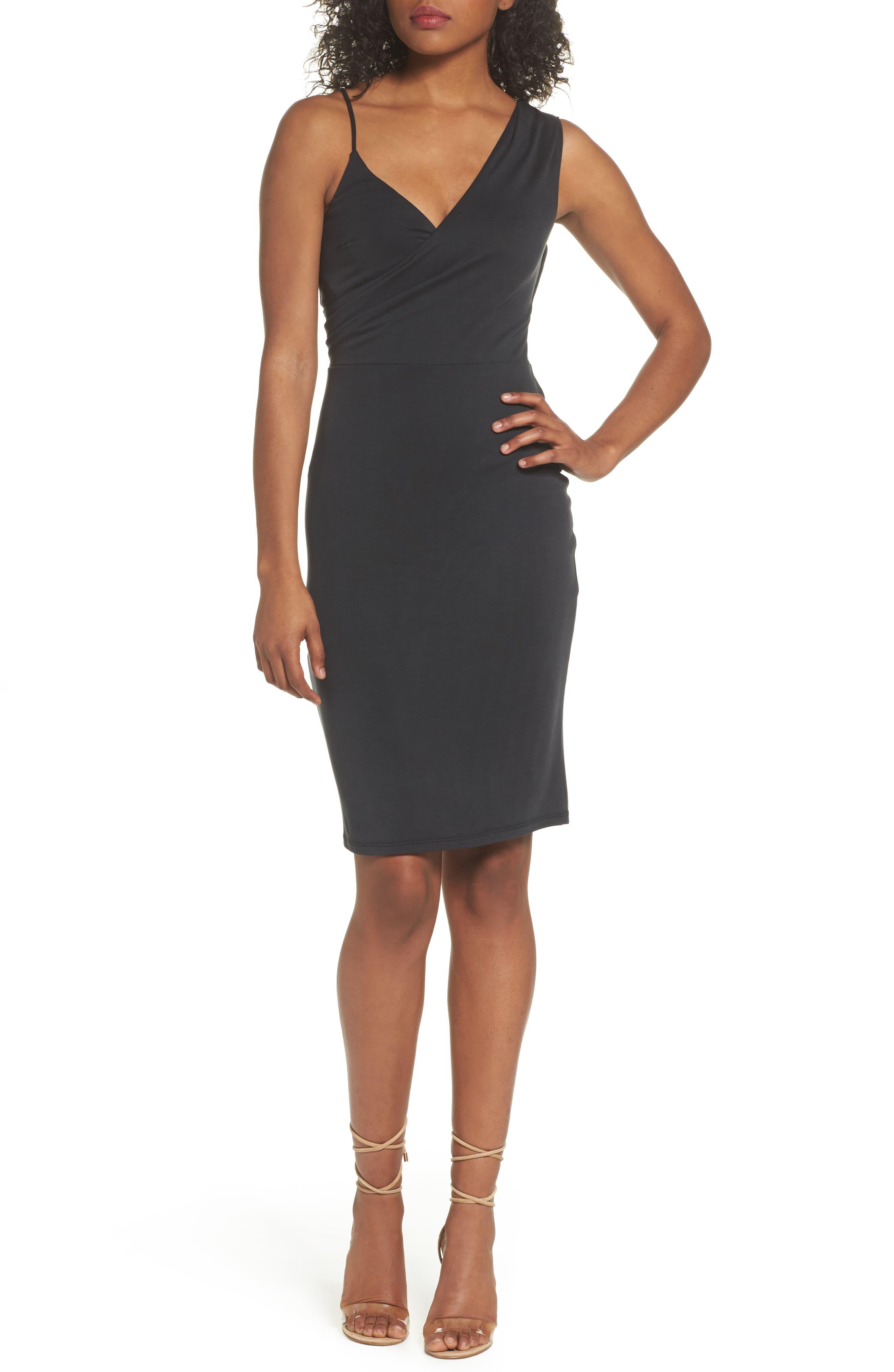 Gracie Cupro Body-Con Dress,                         Main,                         color, Black