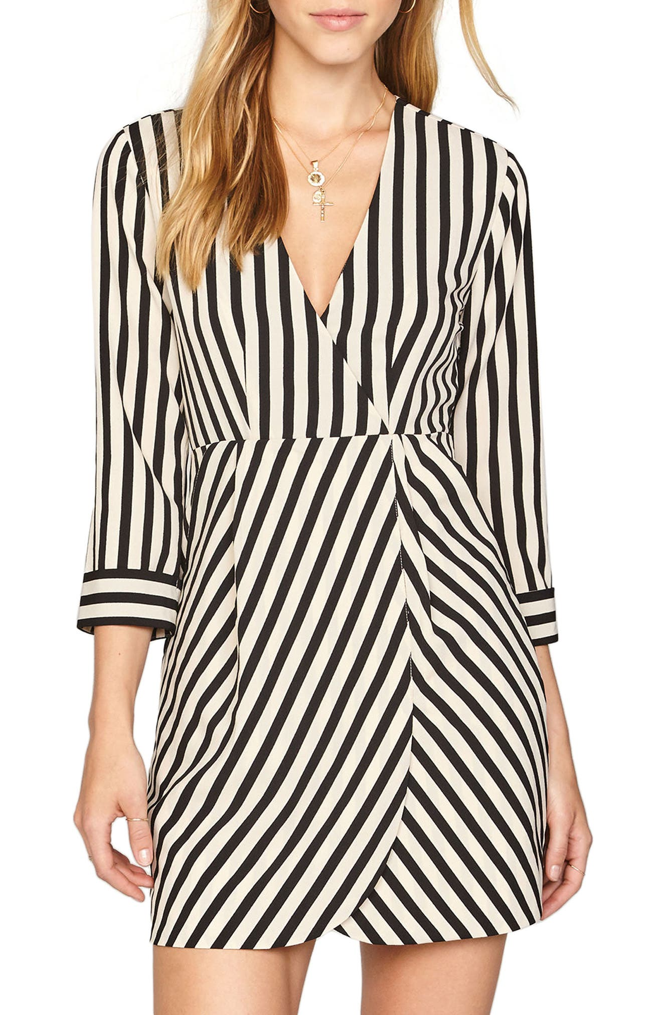 Caught You Looking Stripe Dress,                         Main,                         color, Black Sands