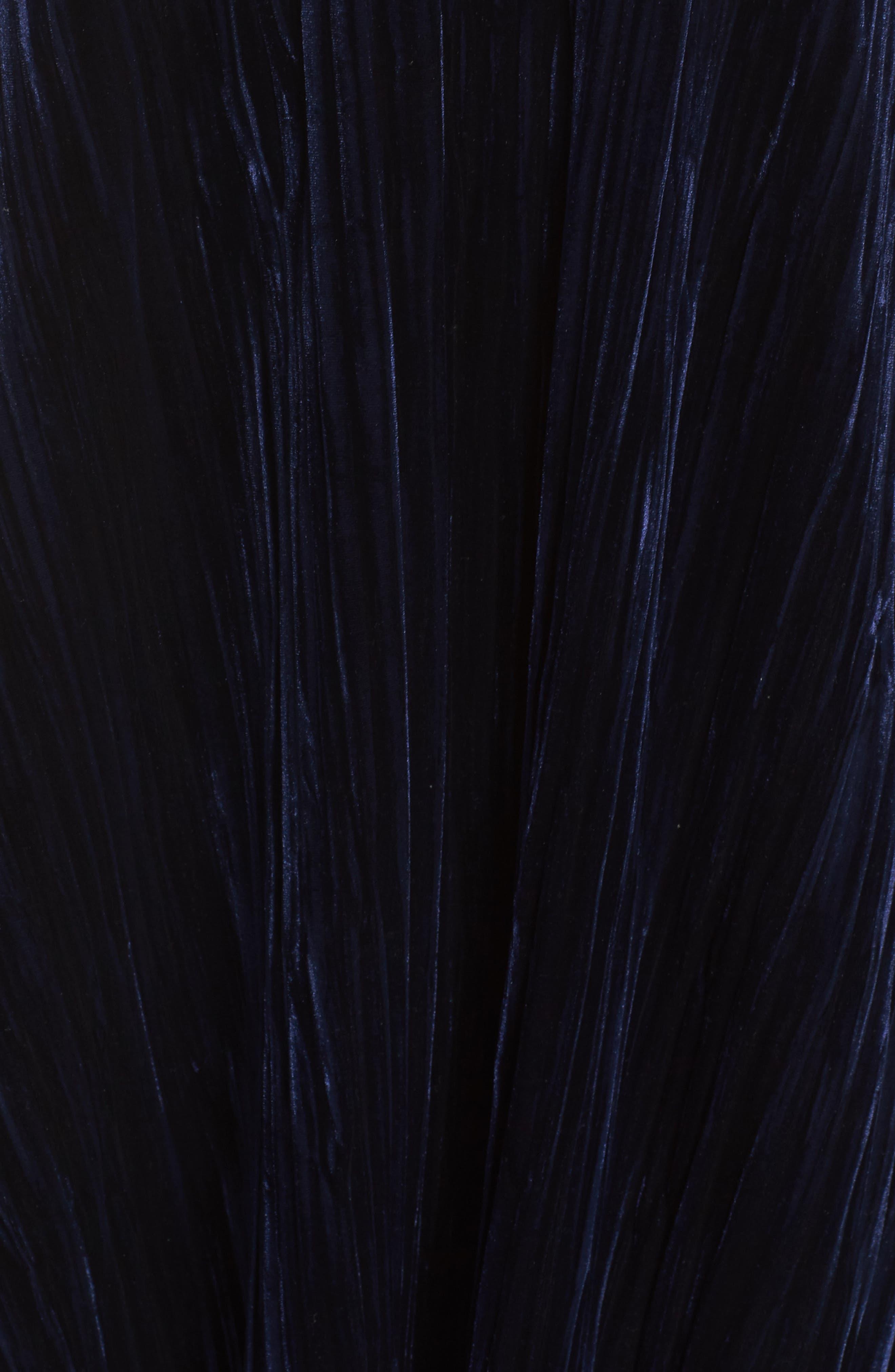 Velvet Shift Dress,                             Alternate thumbnail 5, color,                             Navy