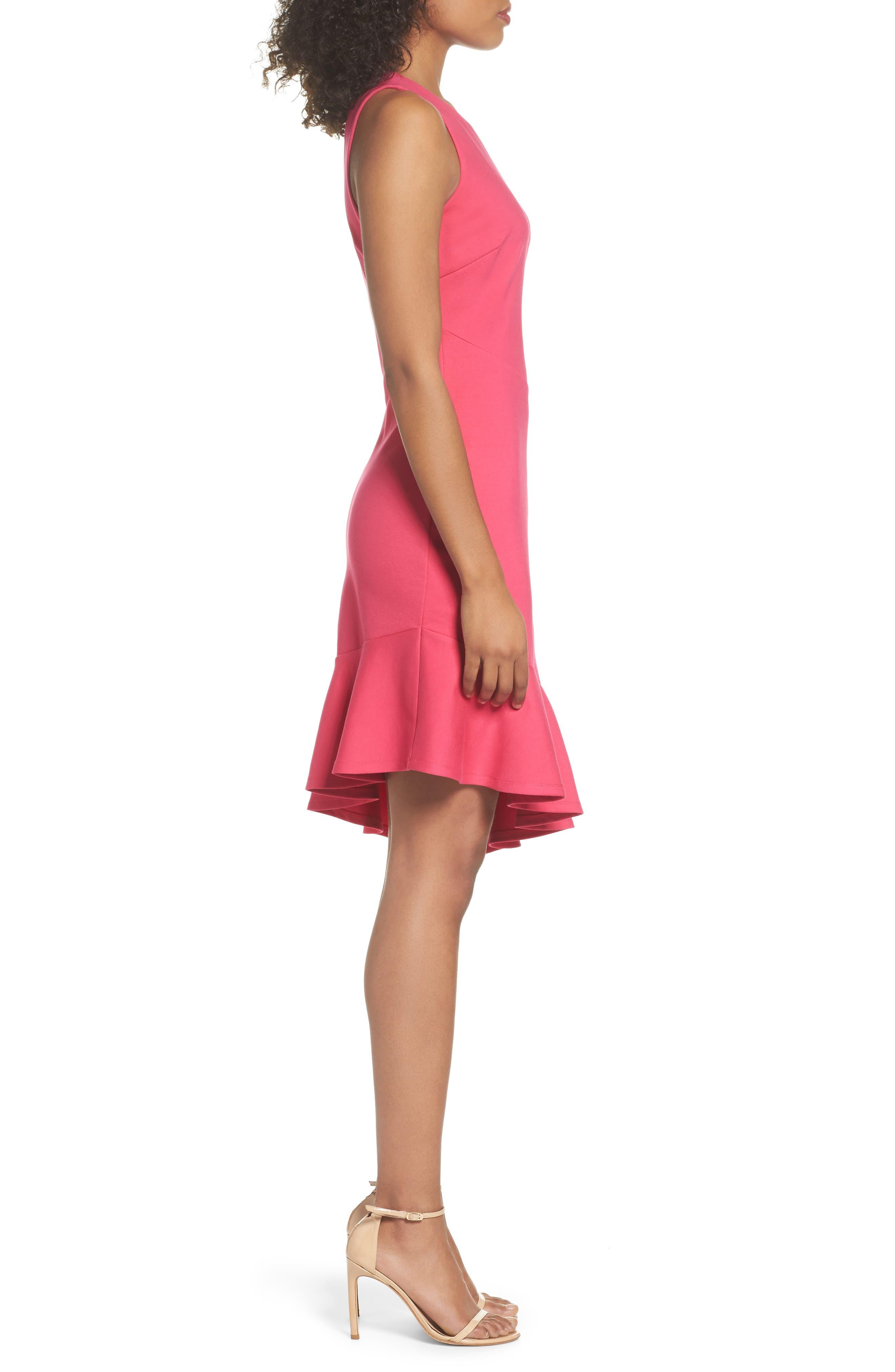 Asymmetric Sheath Dress,                             Alternate thumbnail 3, color,                             Pink Lilac