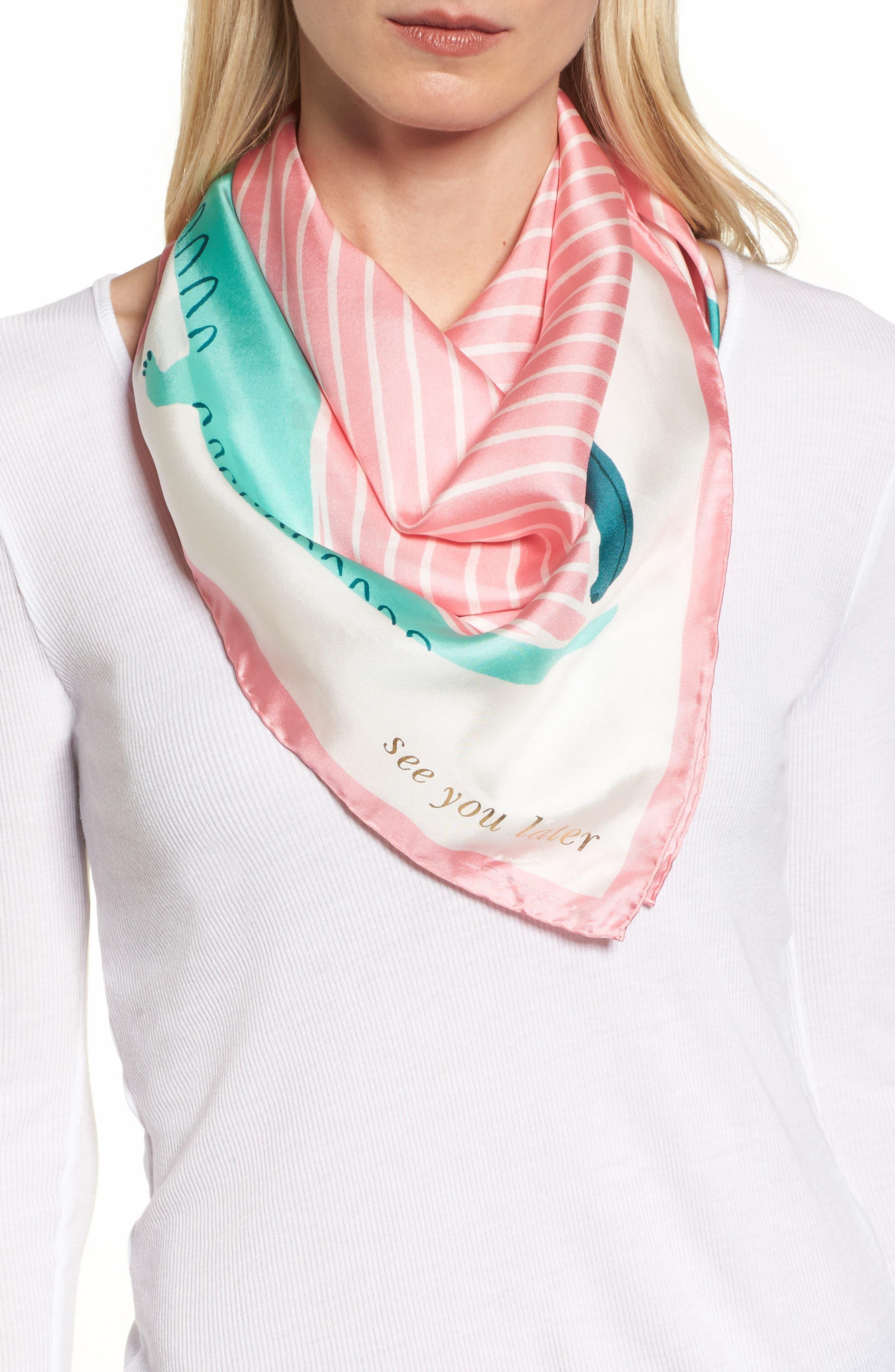 alligator square silk scarf,                         Main,                         color, Cream