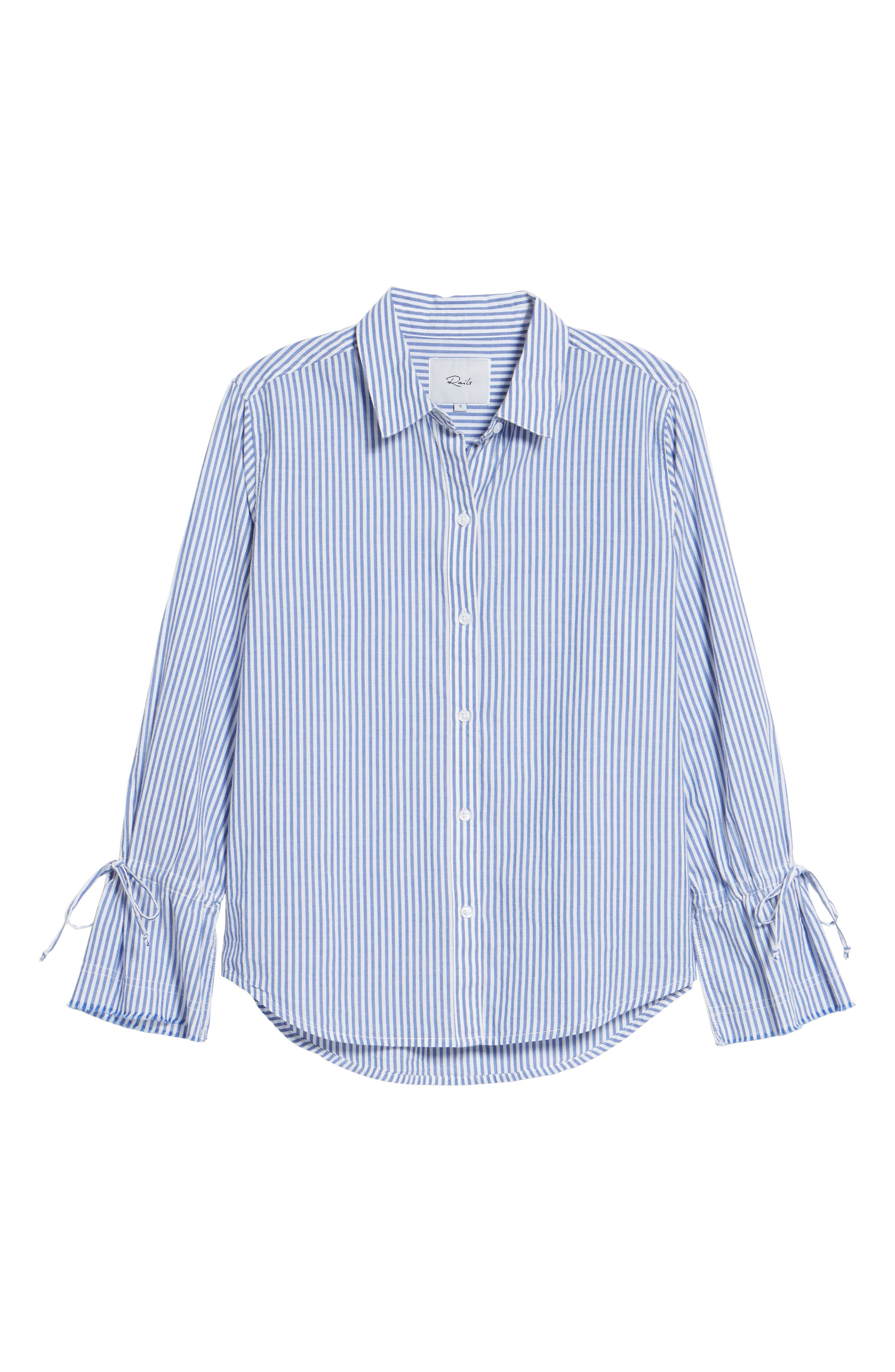 Astrid Tie Cuff Shirt,                             Alternate thumbnail 6, color,                             Banker Stripe