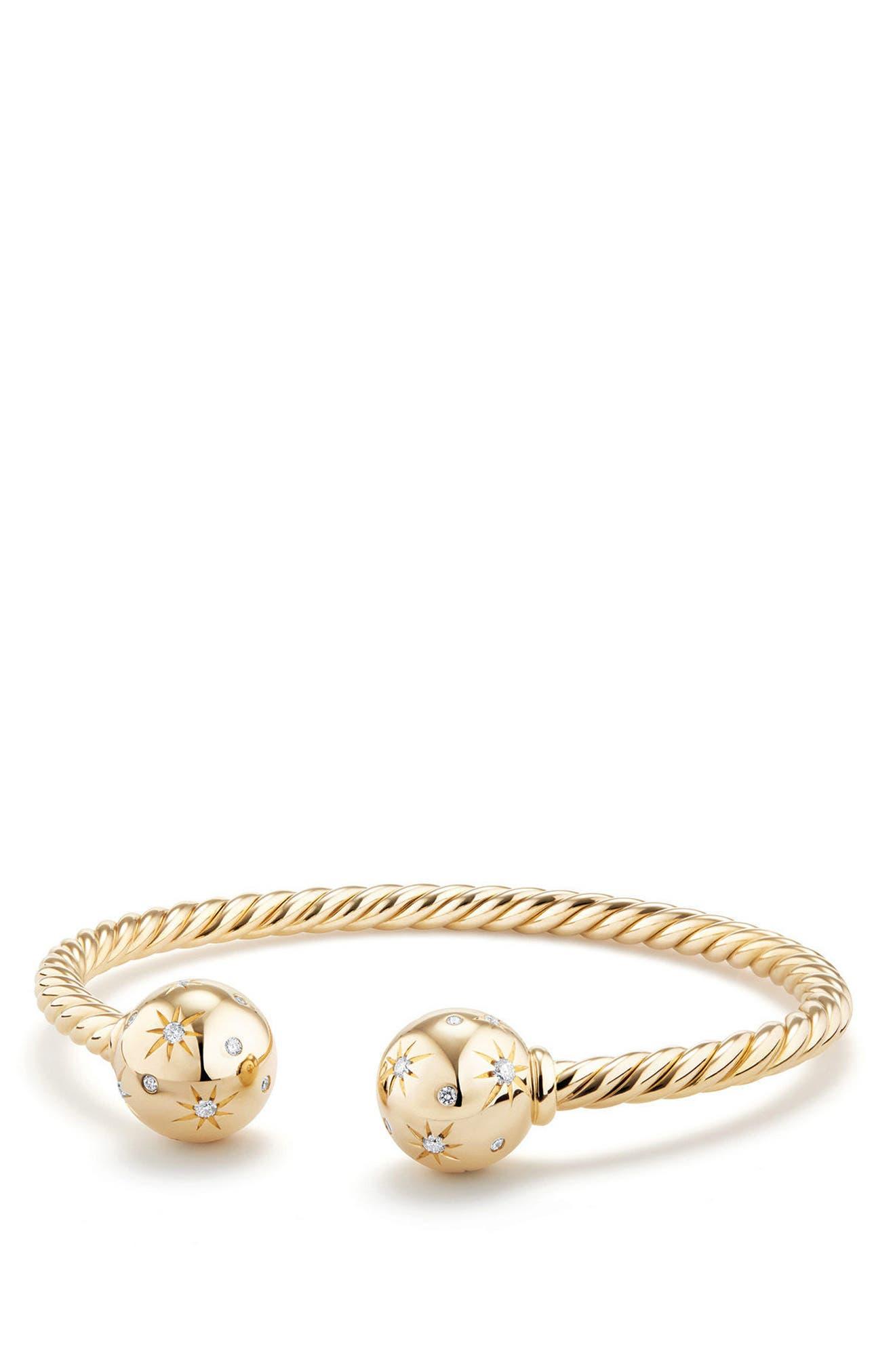 Solari Bead Bracelet with Diamonds in 18K Gold,                         Main,                         color, Yellow Gold
