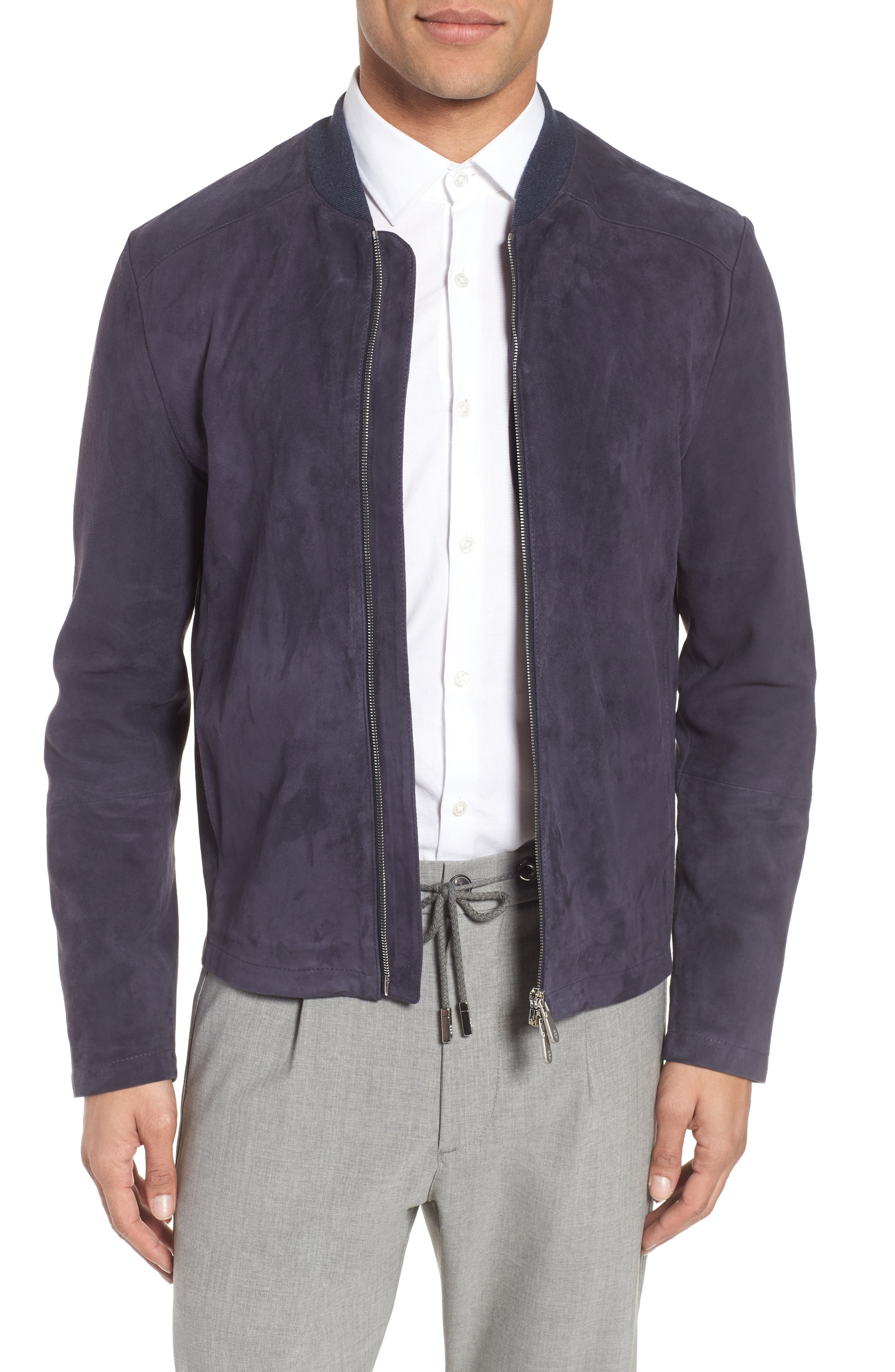 Suede Jacket,                             Main thumbnail 1, color,                             Royal Blue