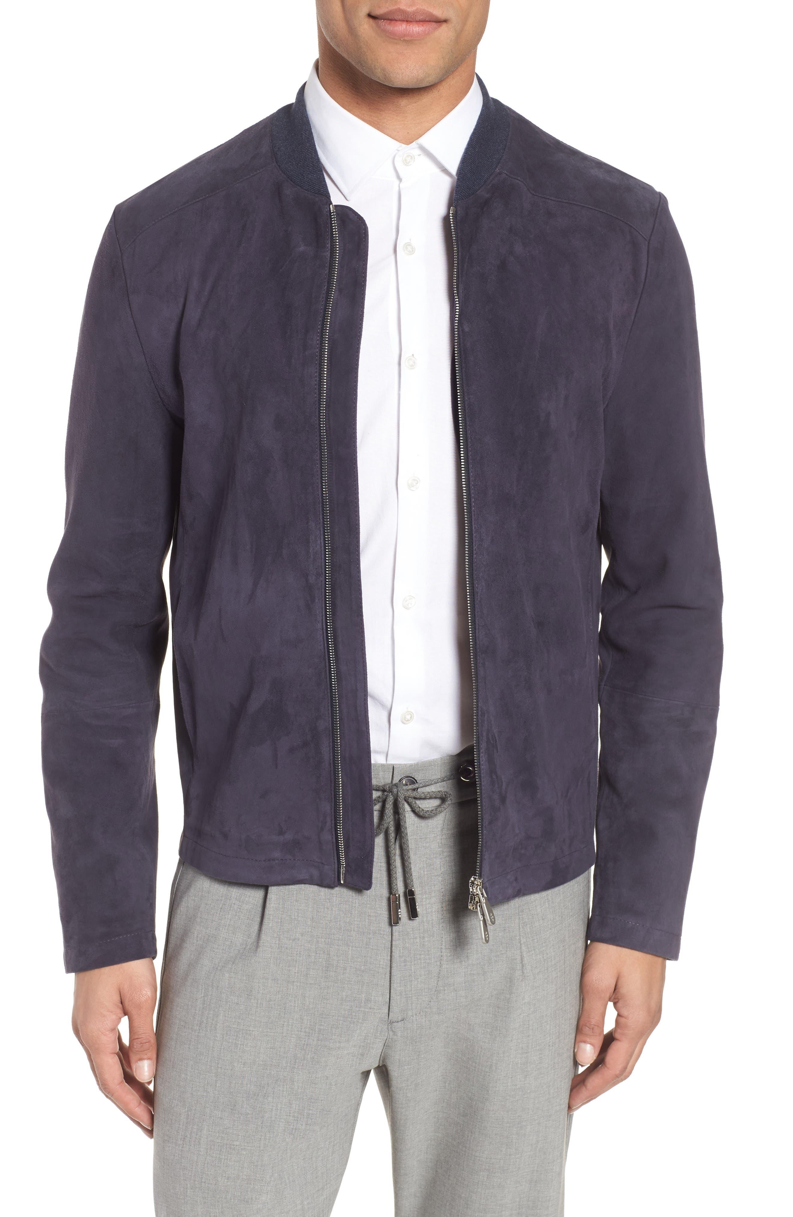 Suede Jacket,                         Main,                         color, Royal Blue