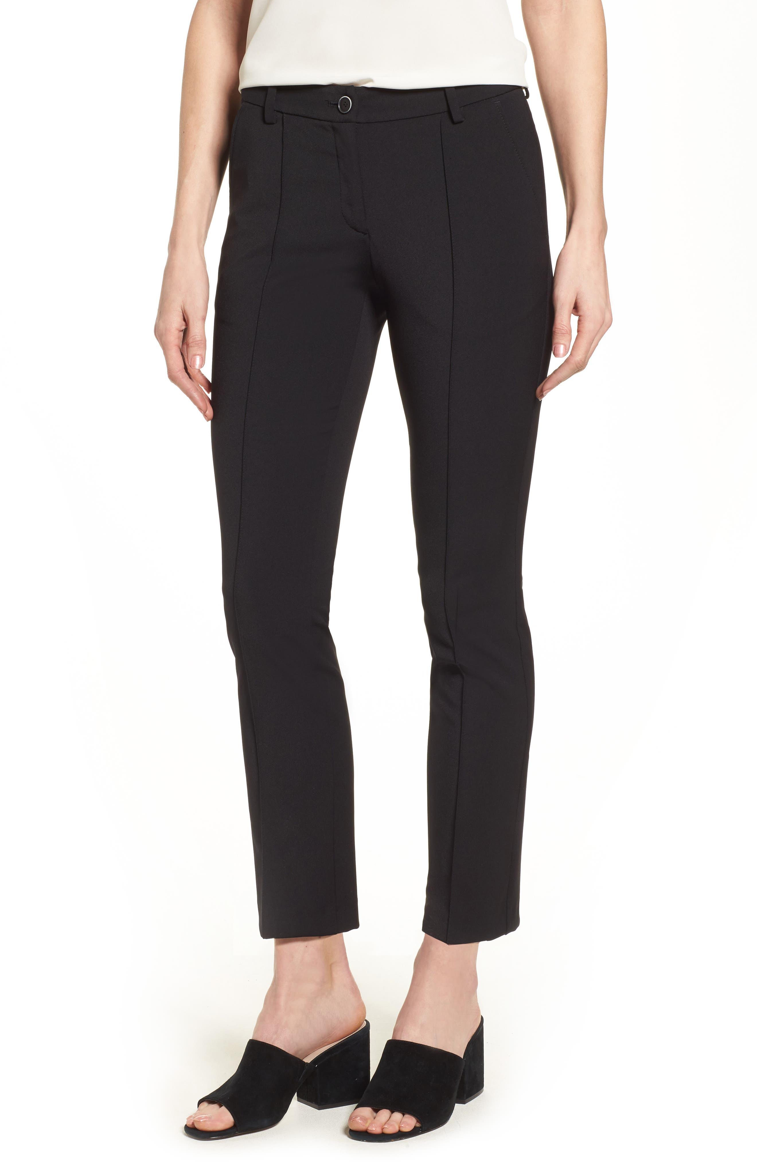Maron Straight Leg Seamed Pants,                             Main thumbnail 1, color,                             Black