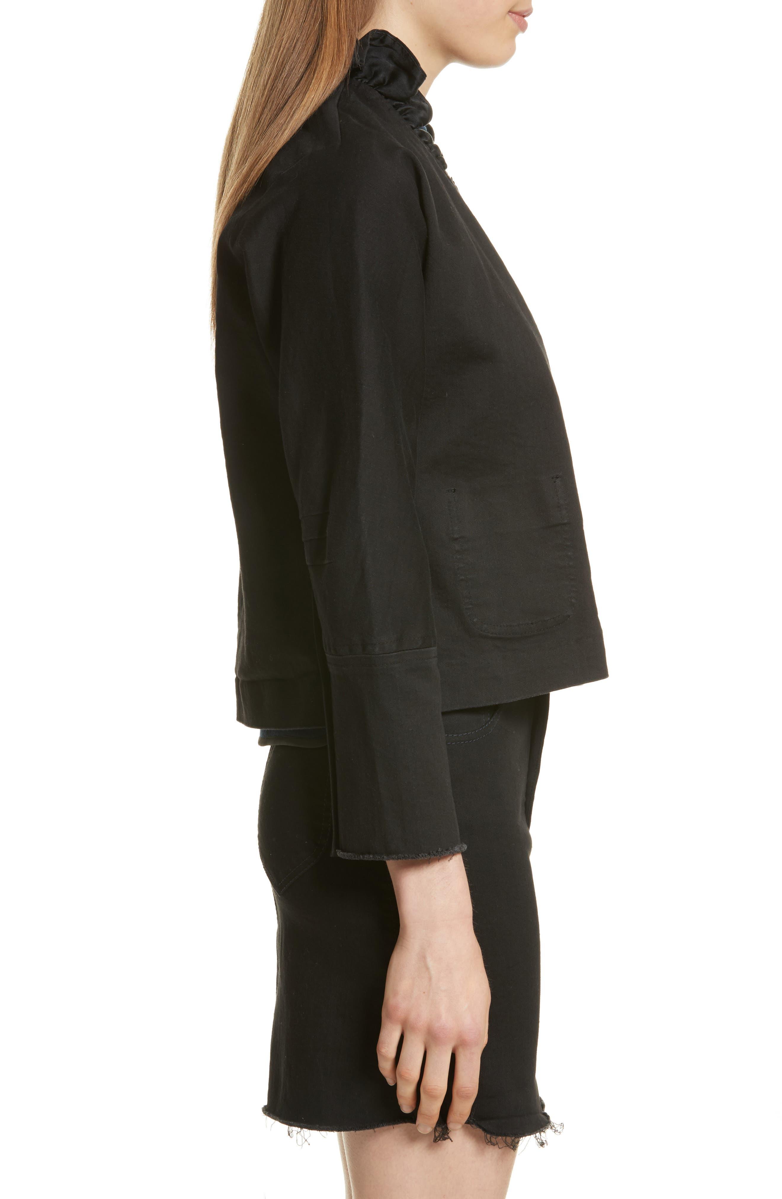 Ruffle Collar Crop Denim Jacket,                             Alternate thumbnail 3, color,                             Black
