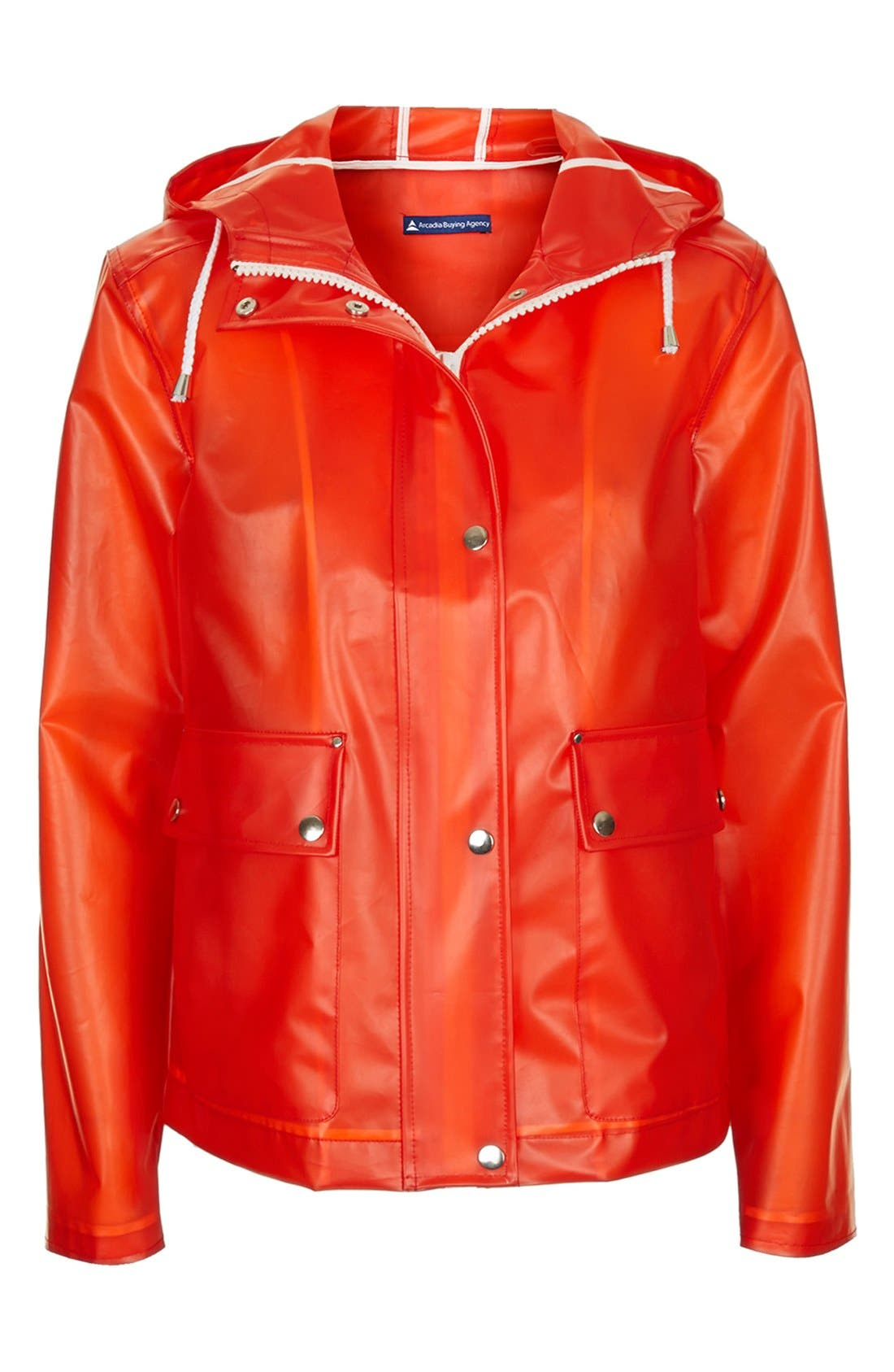 Alternate Image 5  - Topshop 'Bongo' Hooded Plastic Raincoat (Brit Pop-In)
