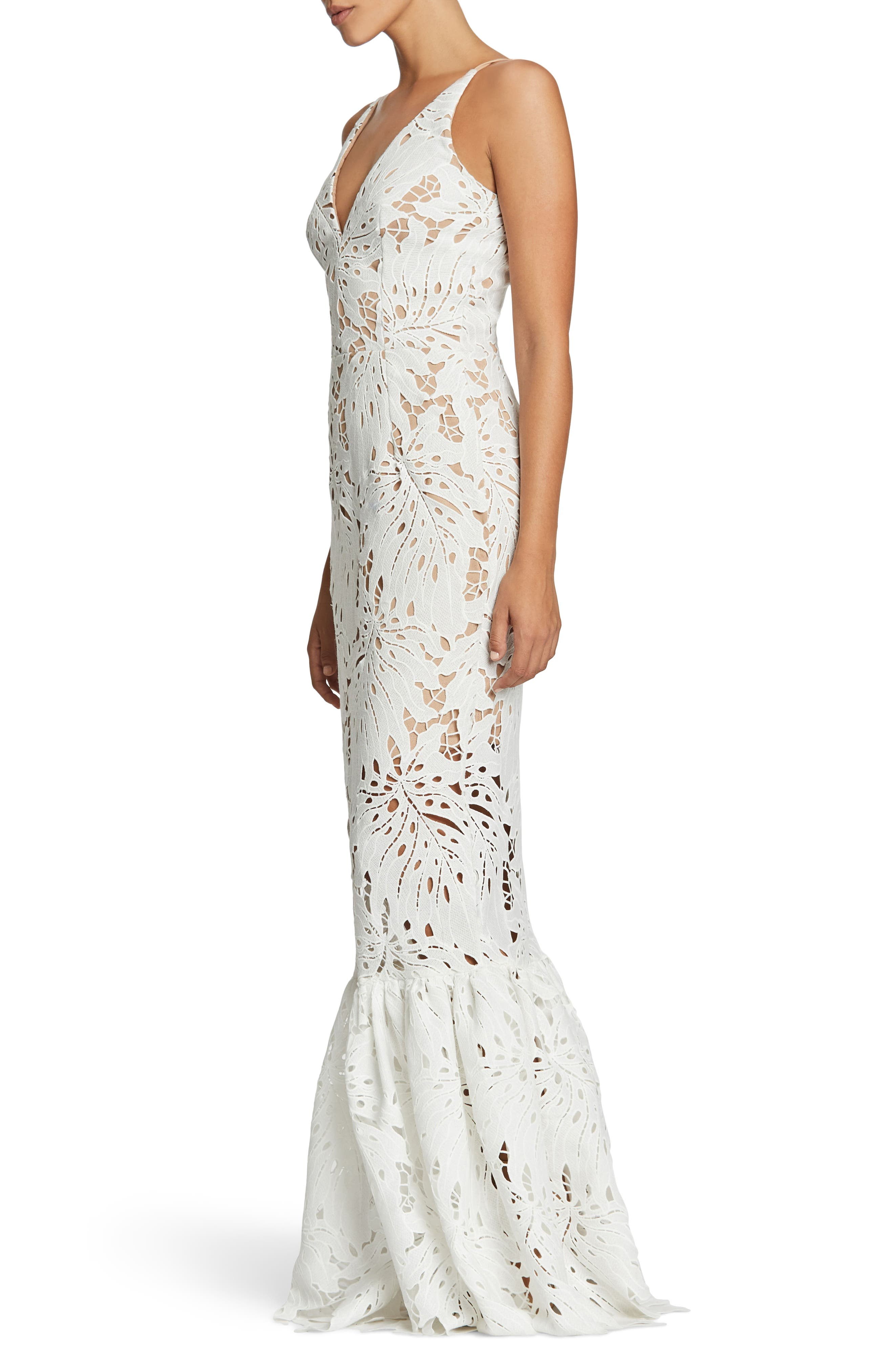 Brooke Crochet Palm Mermaid Gown,                             Alternate thumbnail 3, color,                             White