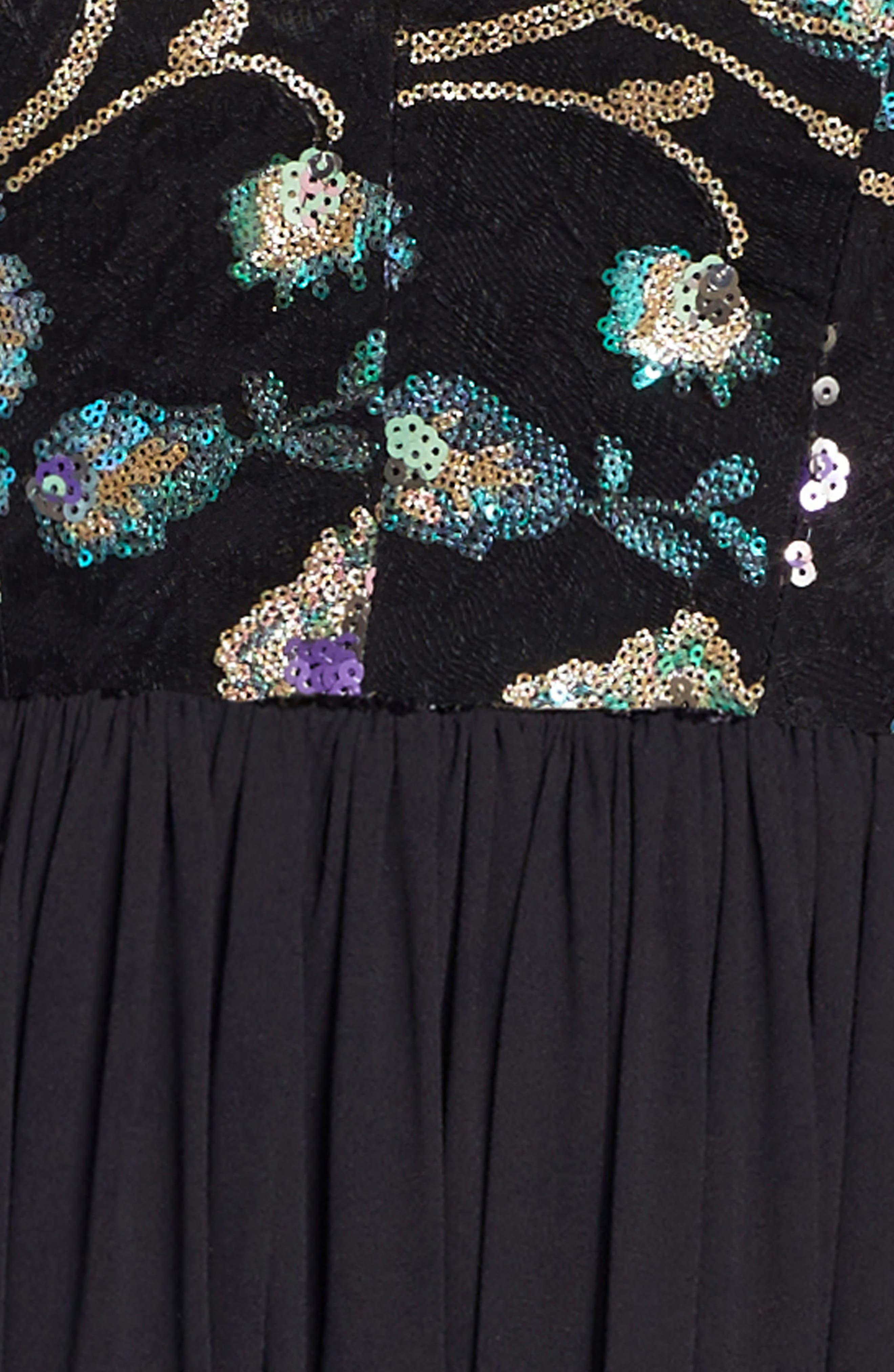 Adriana Sequin Bodice Gown,                             Alternate thumbnail 4, color,                             Black/ Iridescent Floral