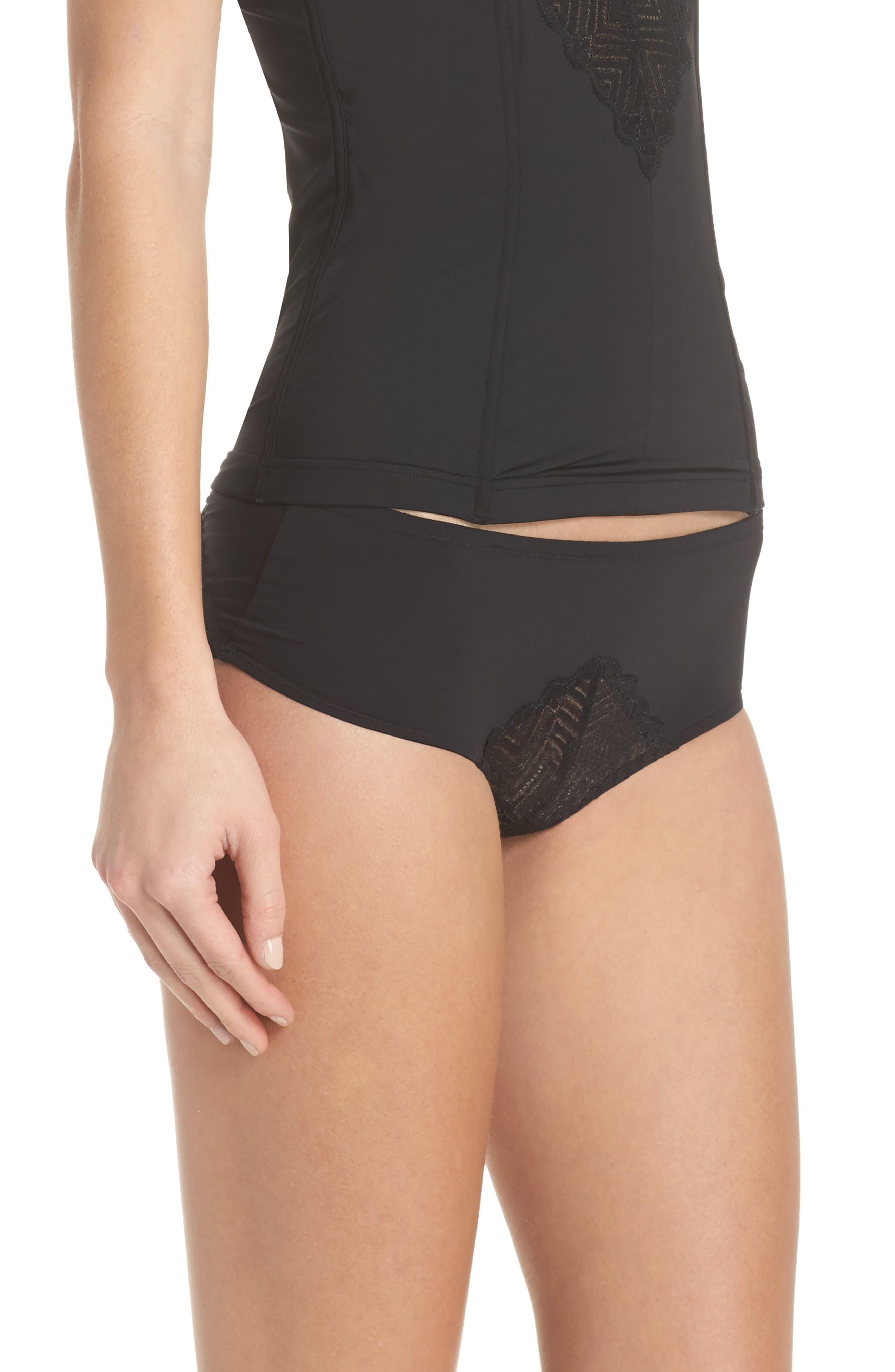 Bisou Naughty Open Back Hotpants,                             Alternate thumbnail 3, color,                             Black