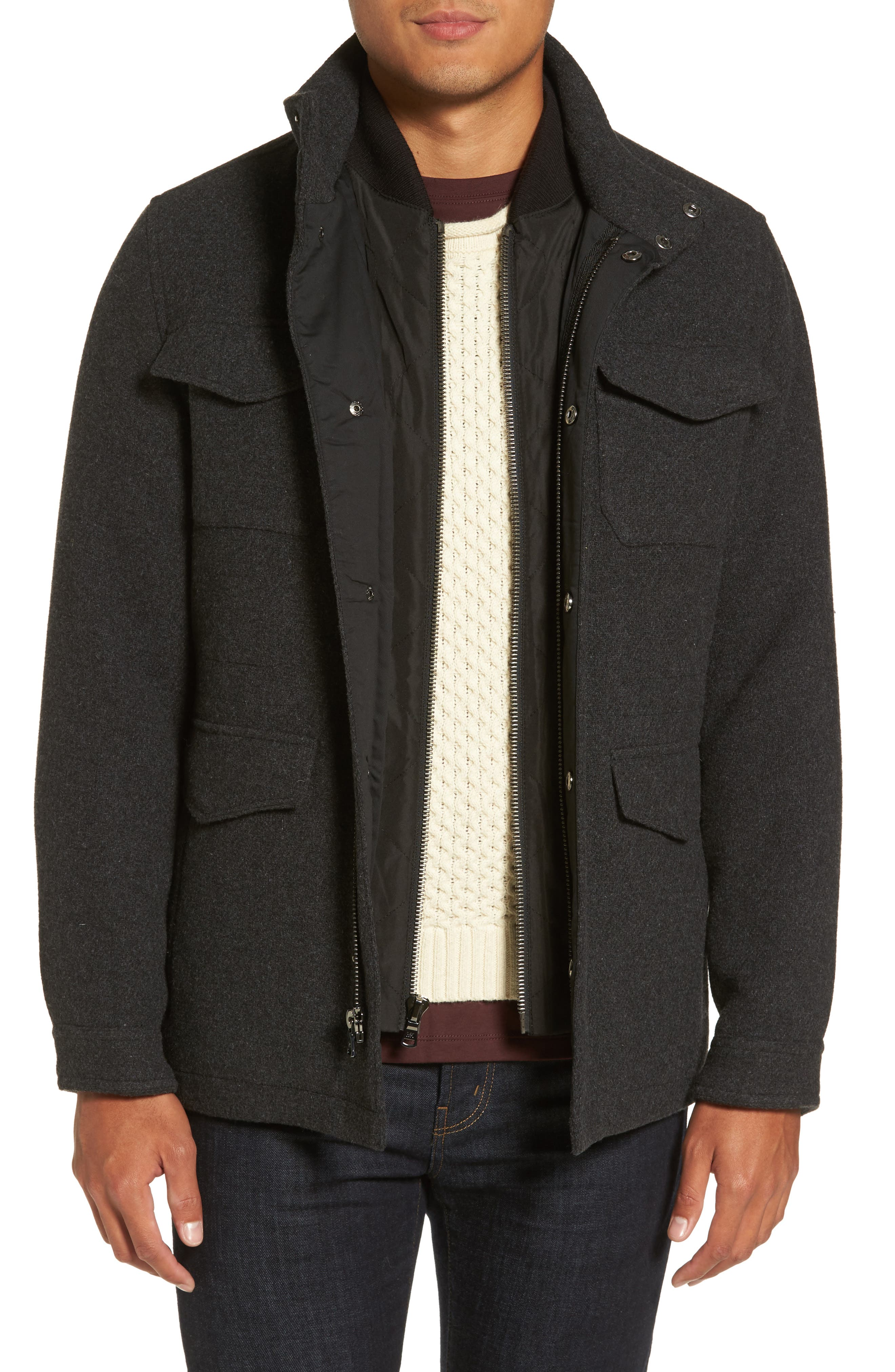 Regular Fit Double Layer Field Jacket,                         Main,                         color, Charcoal/ Black