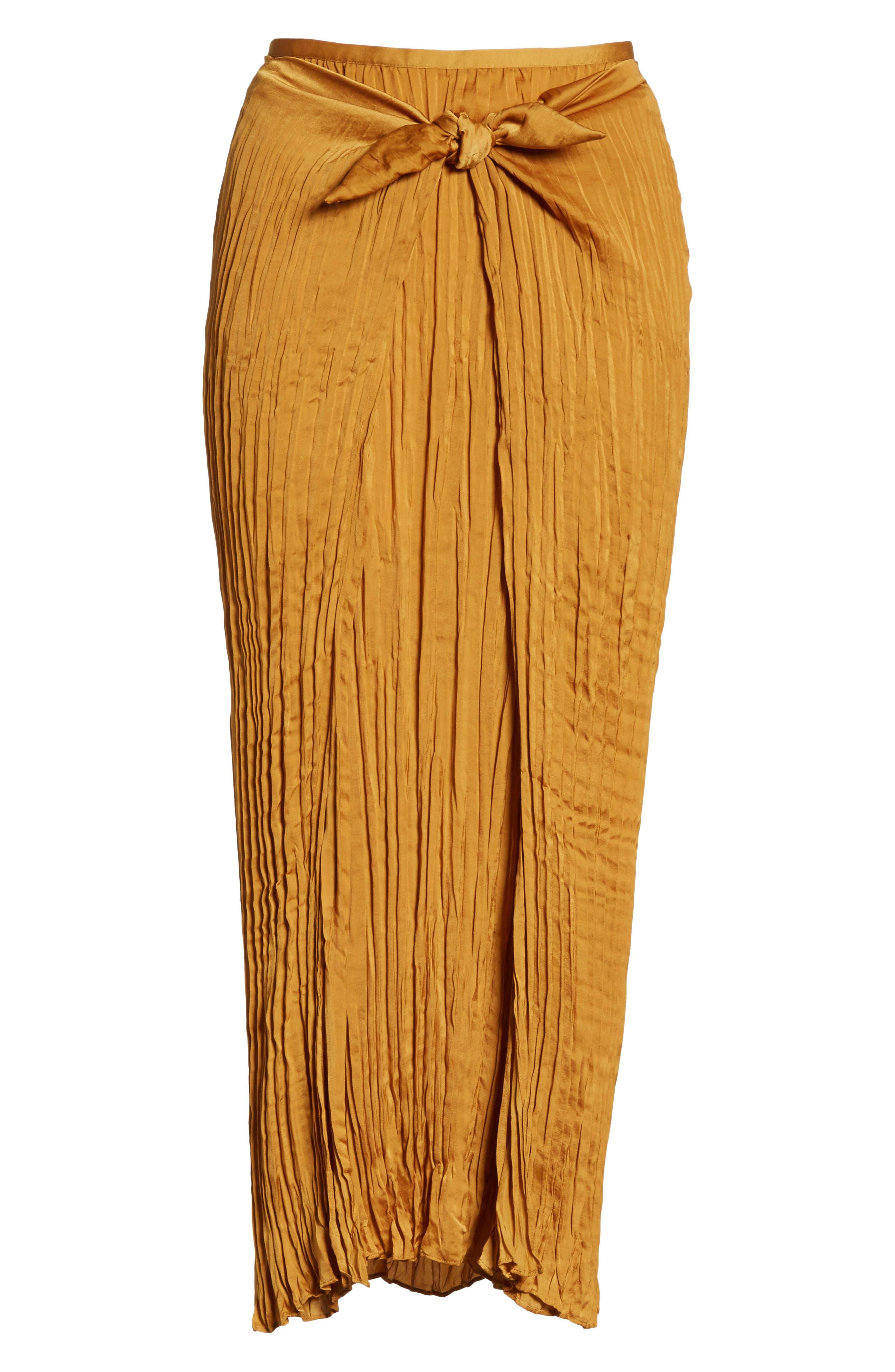 Pleated Tie Front Midi Skirt,                             Alternate thumbnail 6, color,                             Turmeric