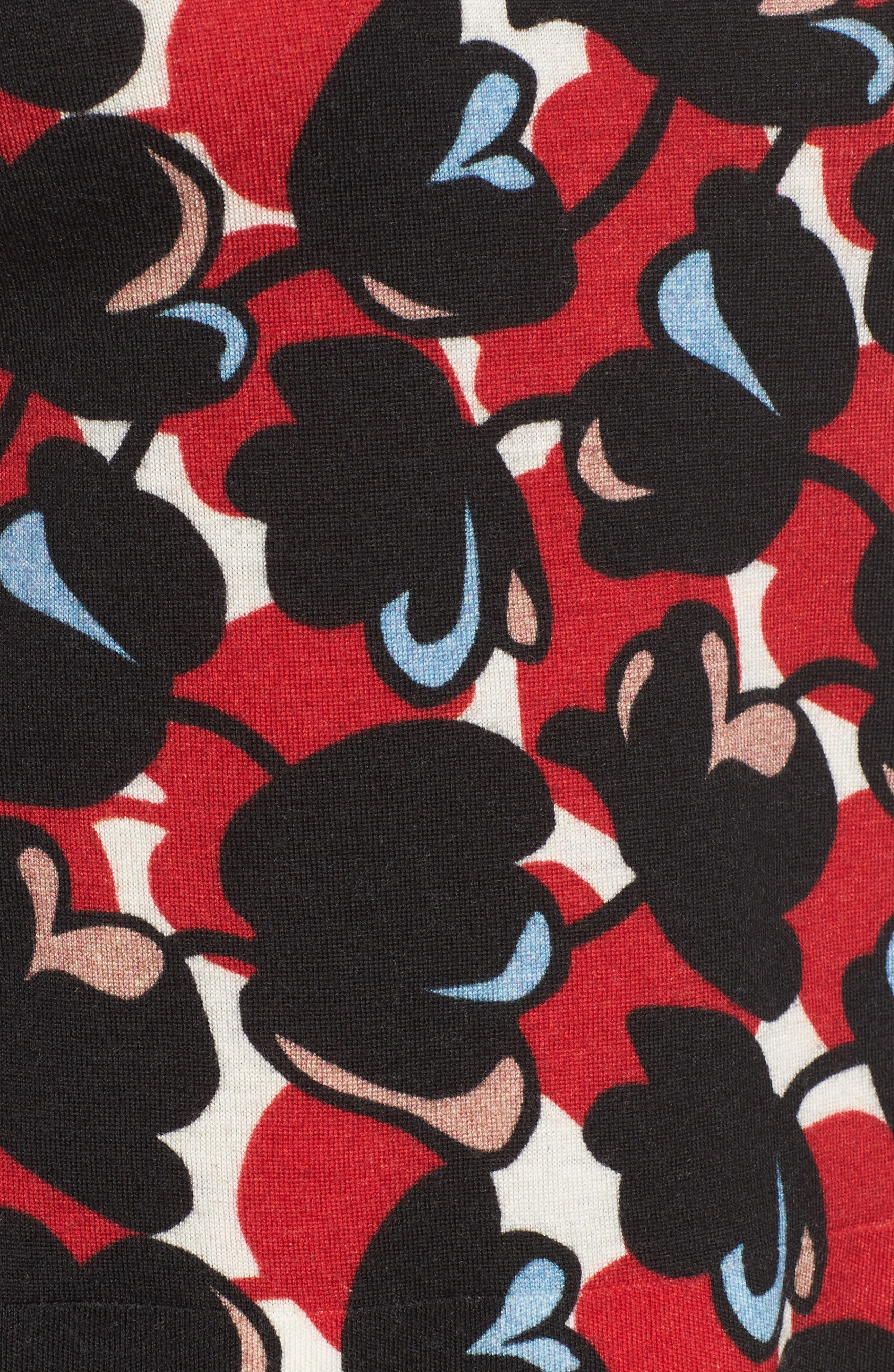 Fadeyka Print Wool Sweater,                             Alternate thumbnail 5, color,                             Flower Print