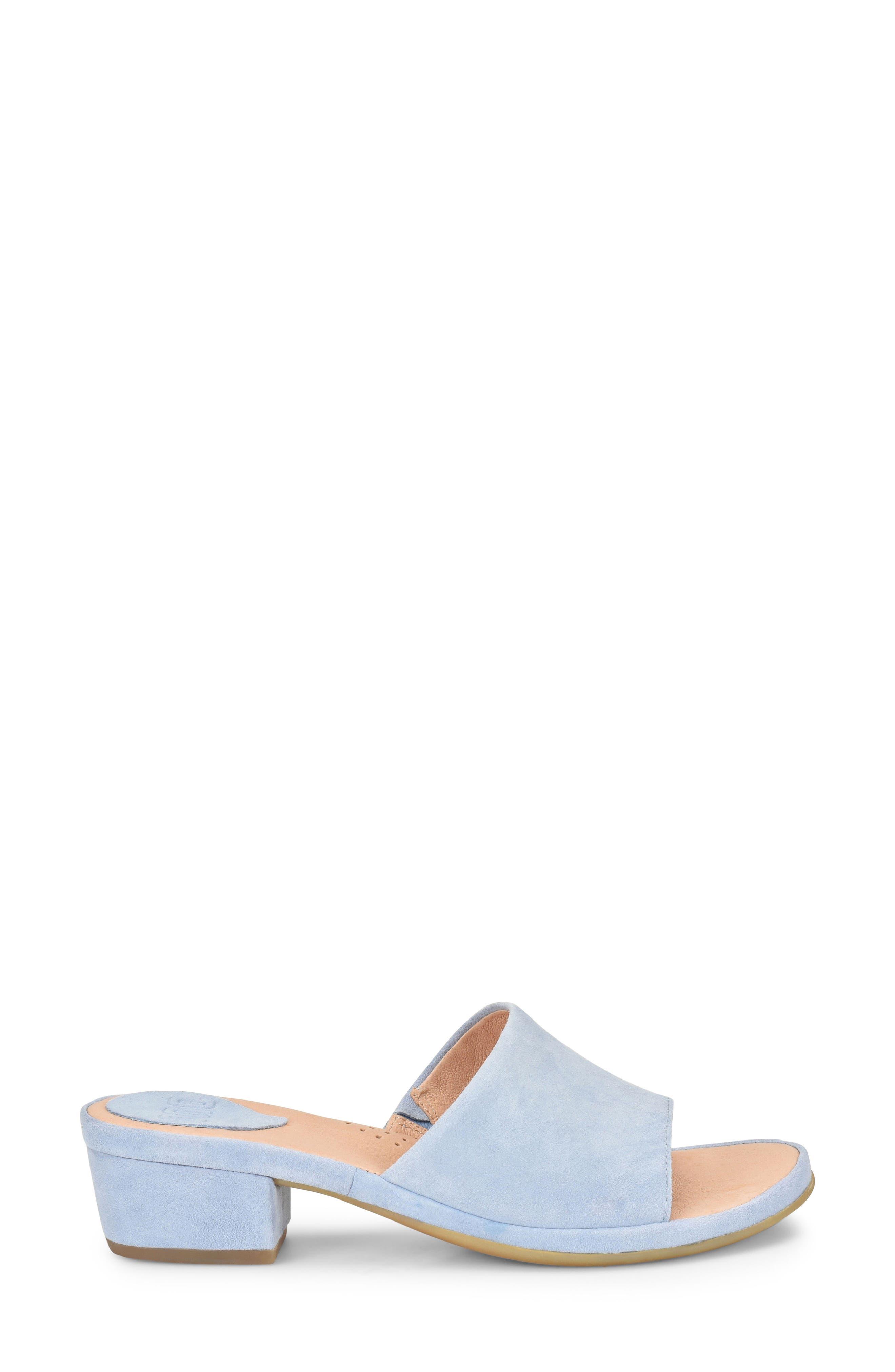 Bo Block Heel Slide Sandal,                             Alternate thumbnail 3, color,                             Light Blue Suede