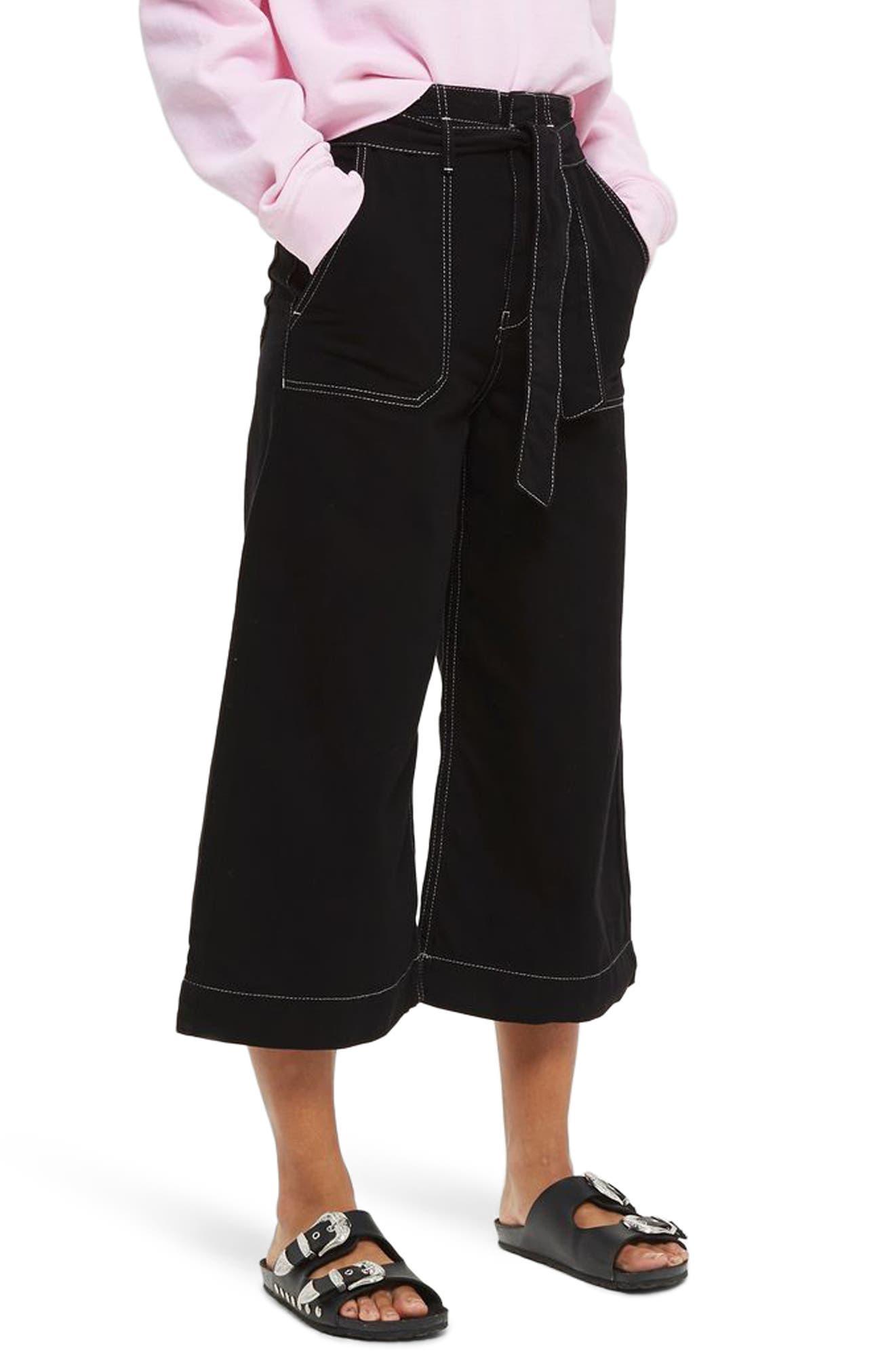 Contrast Stitch Wide Leg Crop Trousers,                         Main,                         color, Black