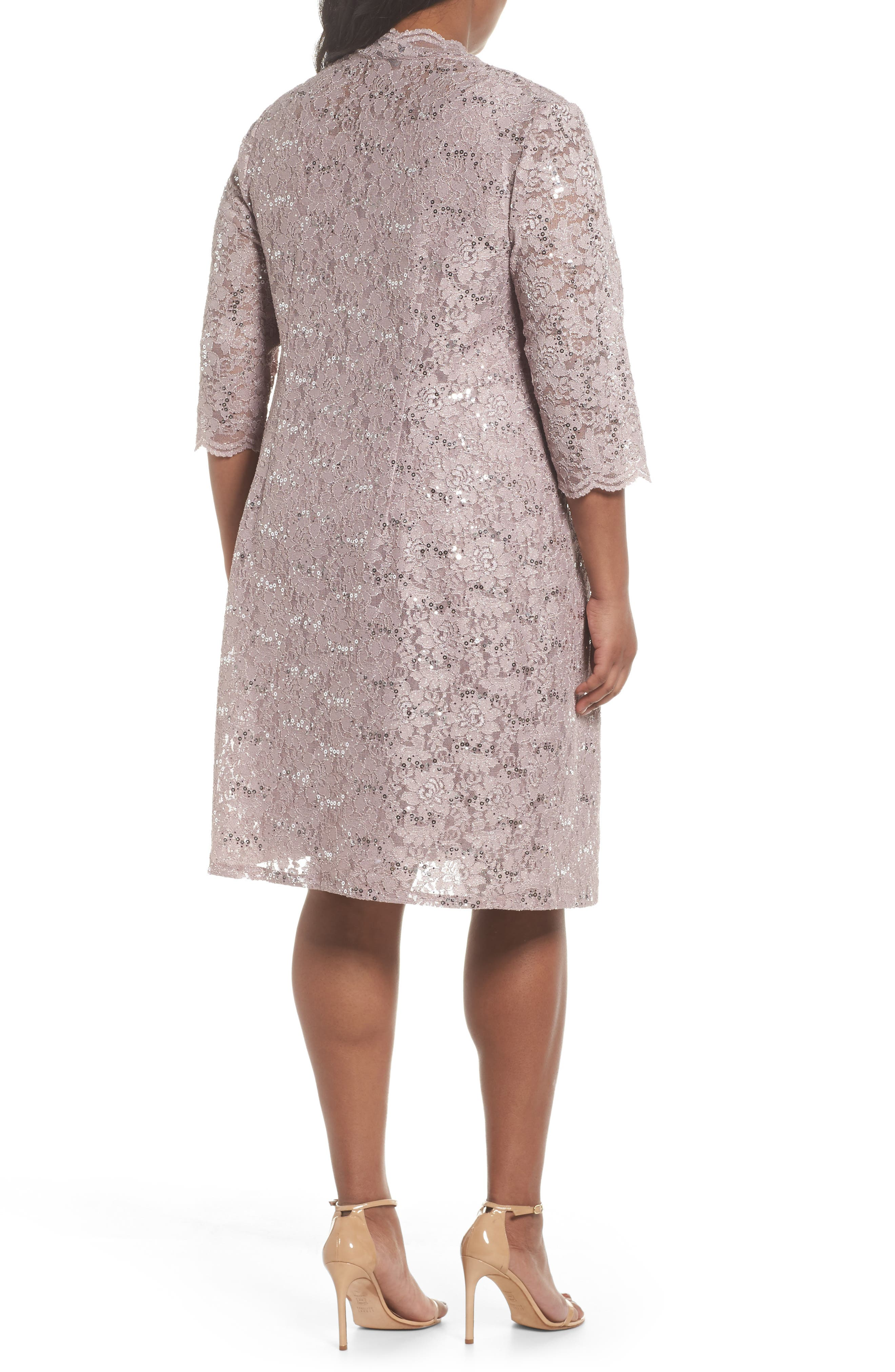 Sequin Lace Sheath Dress with Jacket,                             Alternate thumbnail 3, color,                             Pure Rose