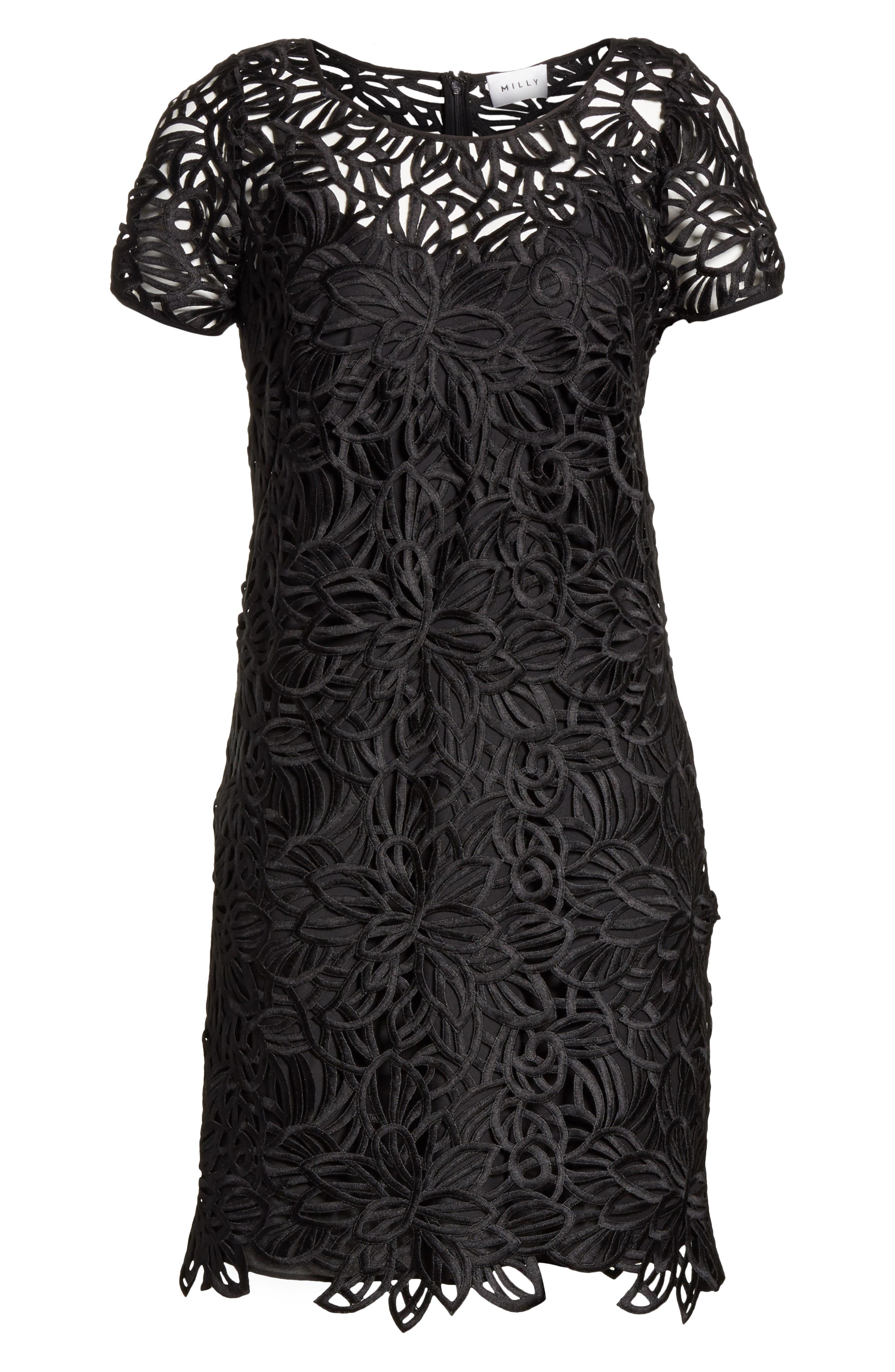 Chloe Lace Shift Dress,                             Alternate thumbnail 6, color,                             Black