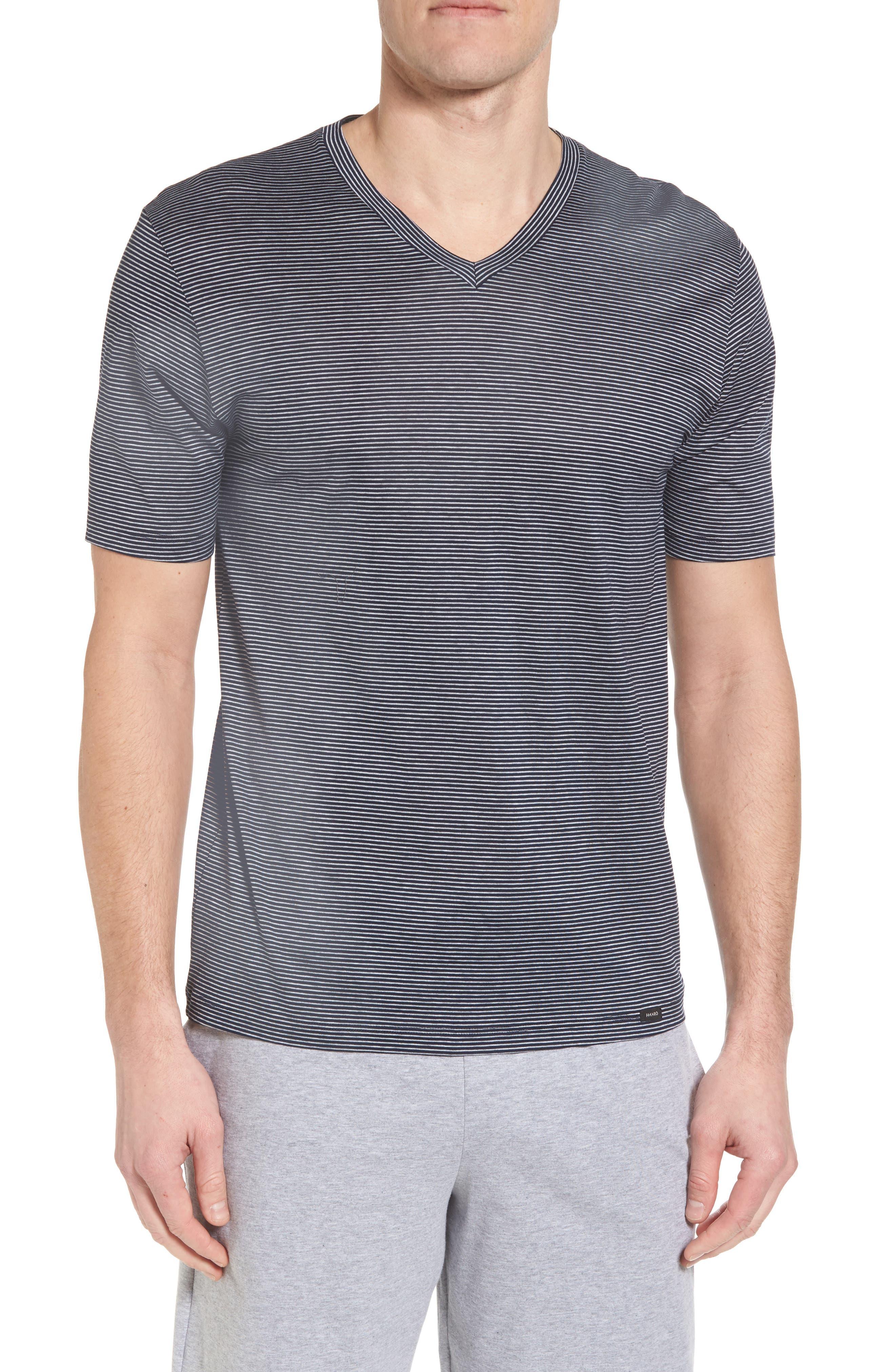 Sporty Stripe Cotton V-Neck T-Shirt,                             Main thumbnail 1, color,                             Marine Grey Stripe