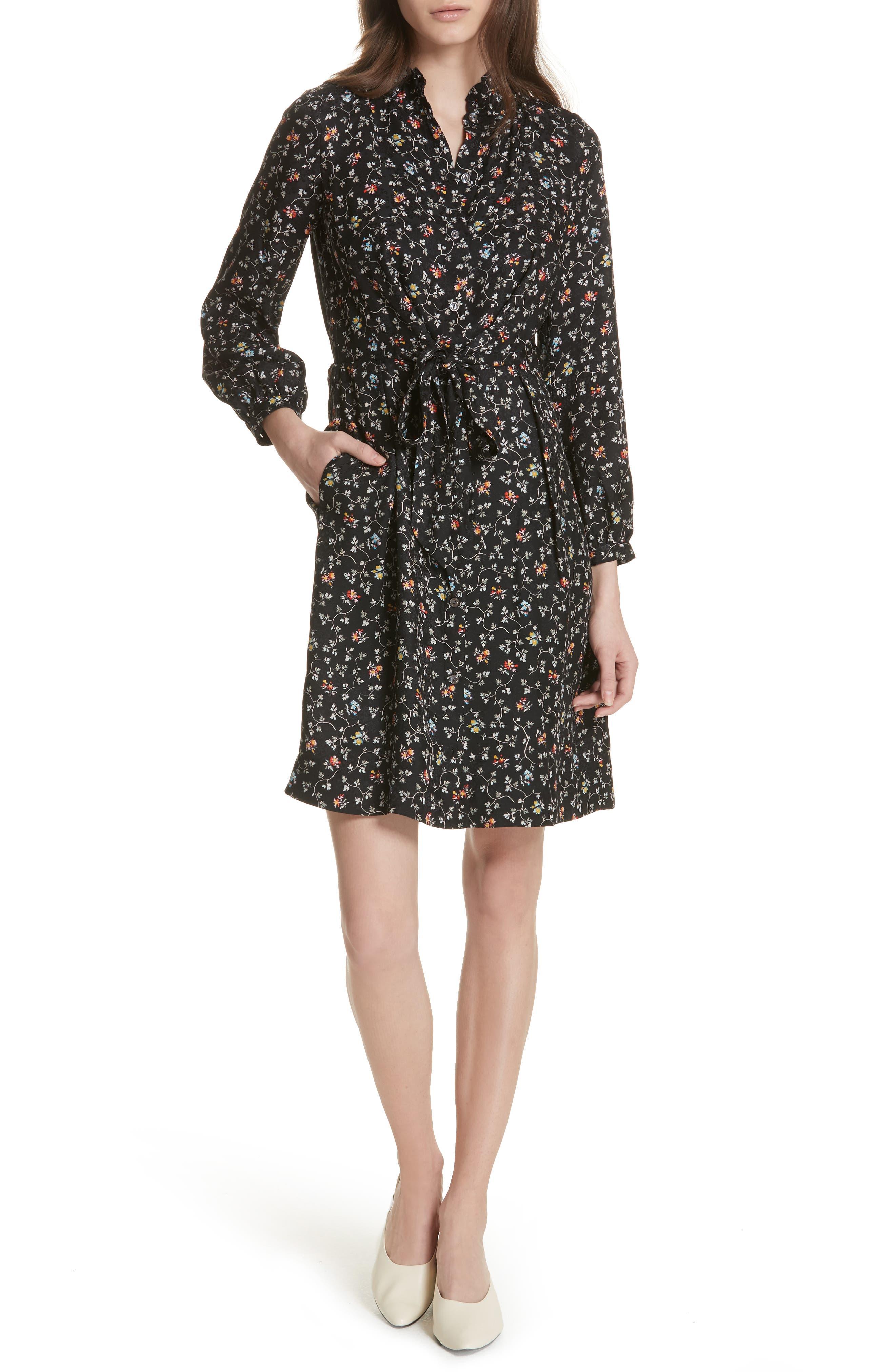 Floral Vine Silk Shirtdress,                         Main,                         color, Black Vine Print
