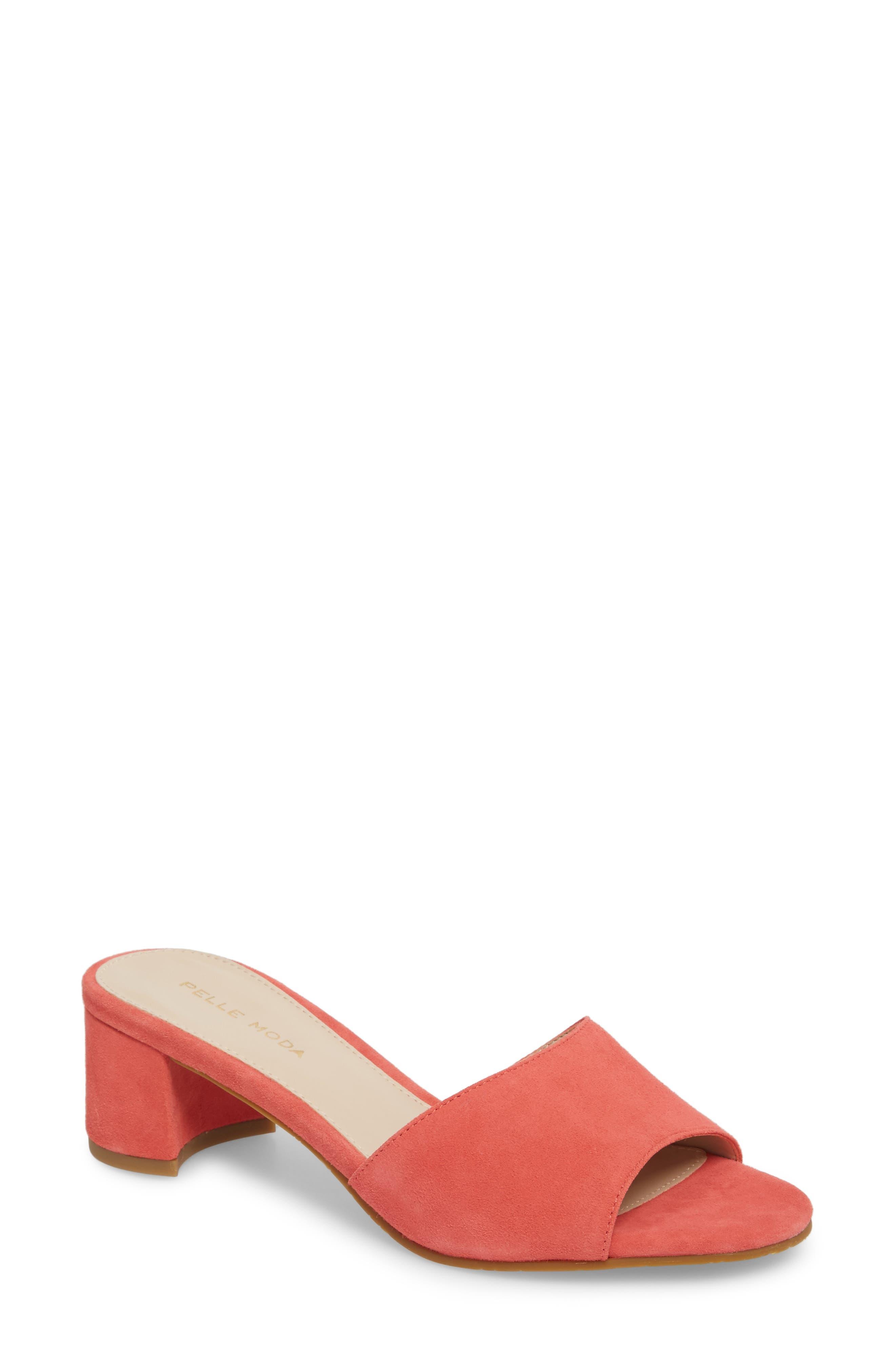 Rea Block Heel Slide, Flamingo Suede