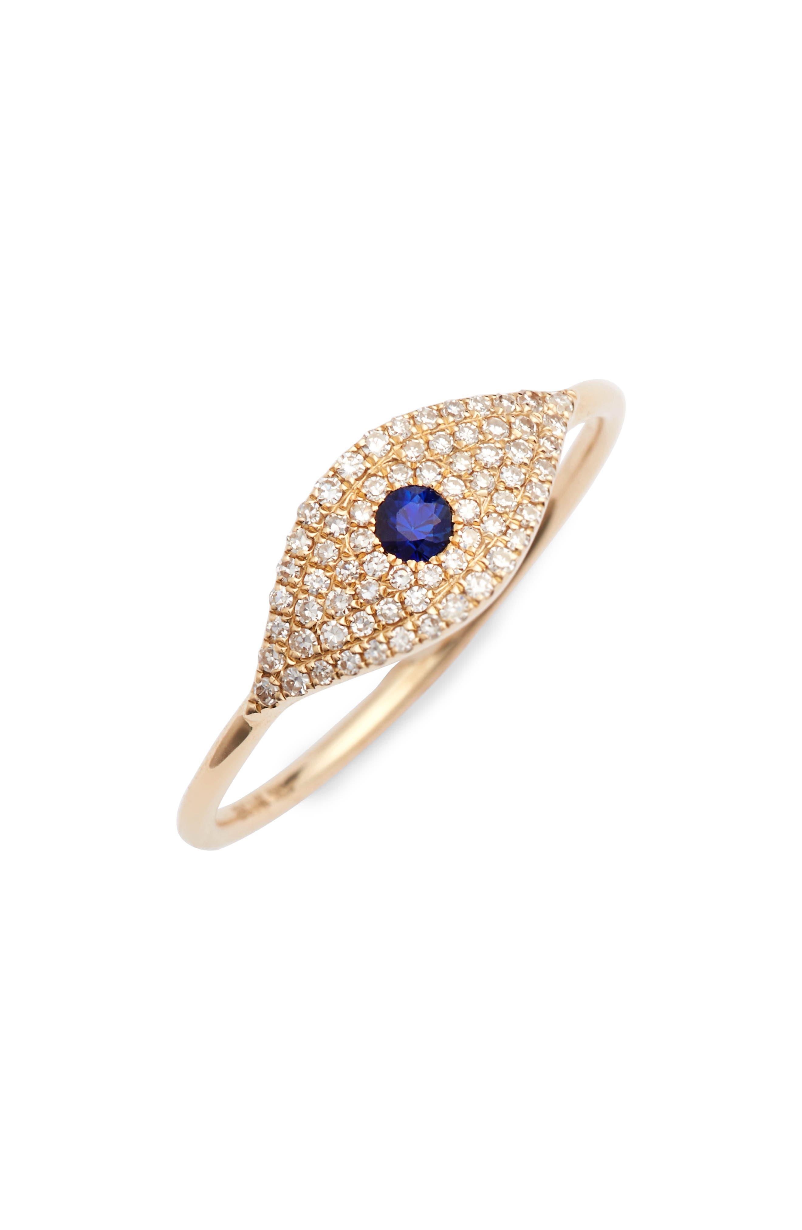 Jumbo Evil Eye Stack Diamond & Sapphire Stack Ring,                         Main,                         color, Yellow Gold/ Sapphire