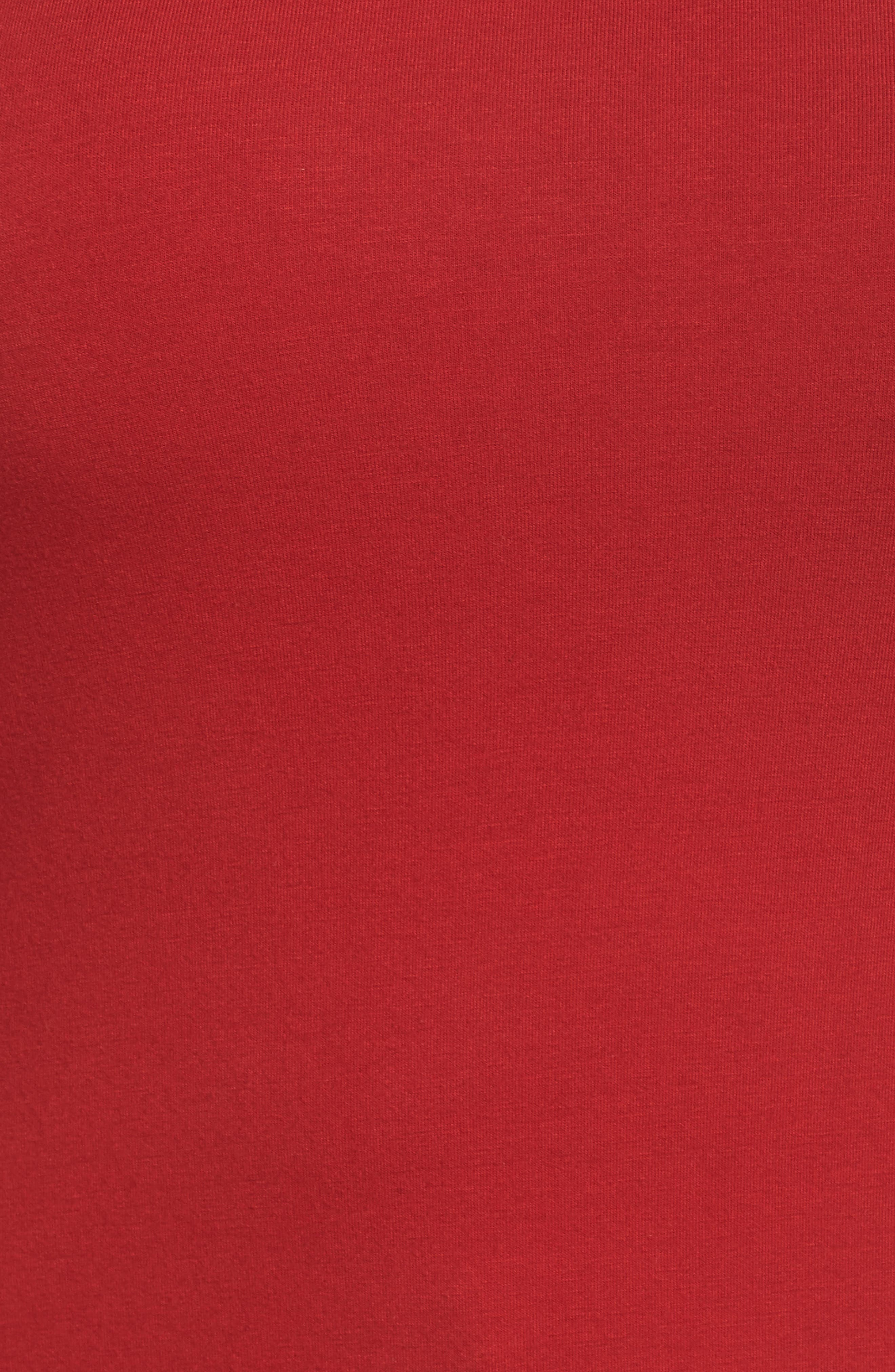 Wide V-Neck Tee,                             Alternate thumbnail 6, color,                             Red Couture