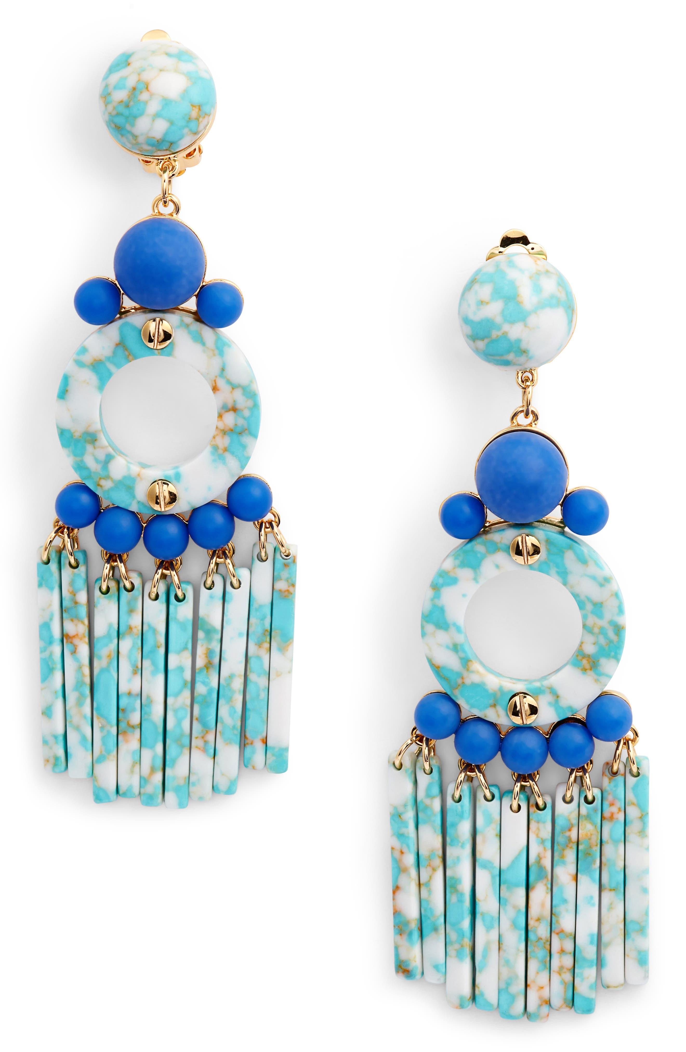 Samba Beaded Drop Earrings,                             Main thumbnail 1, color,                             Turquoise
