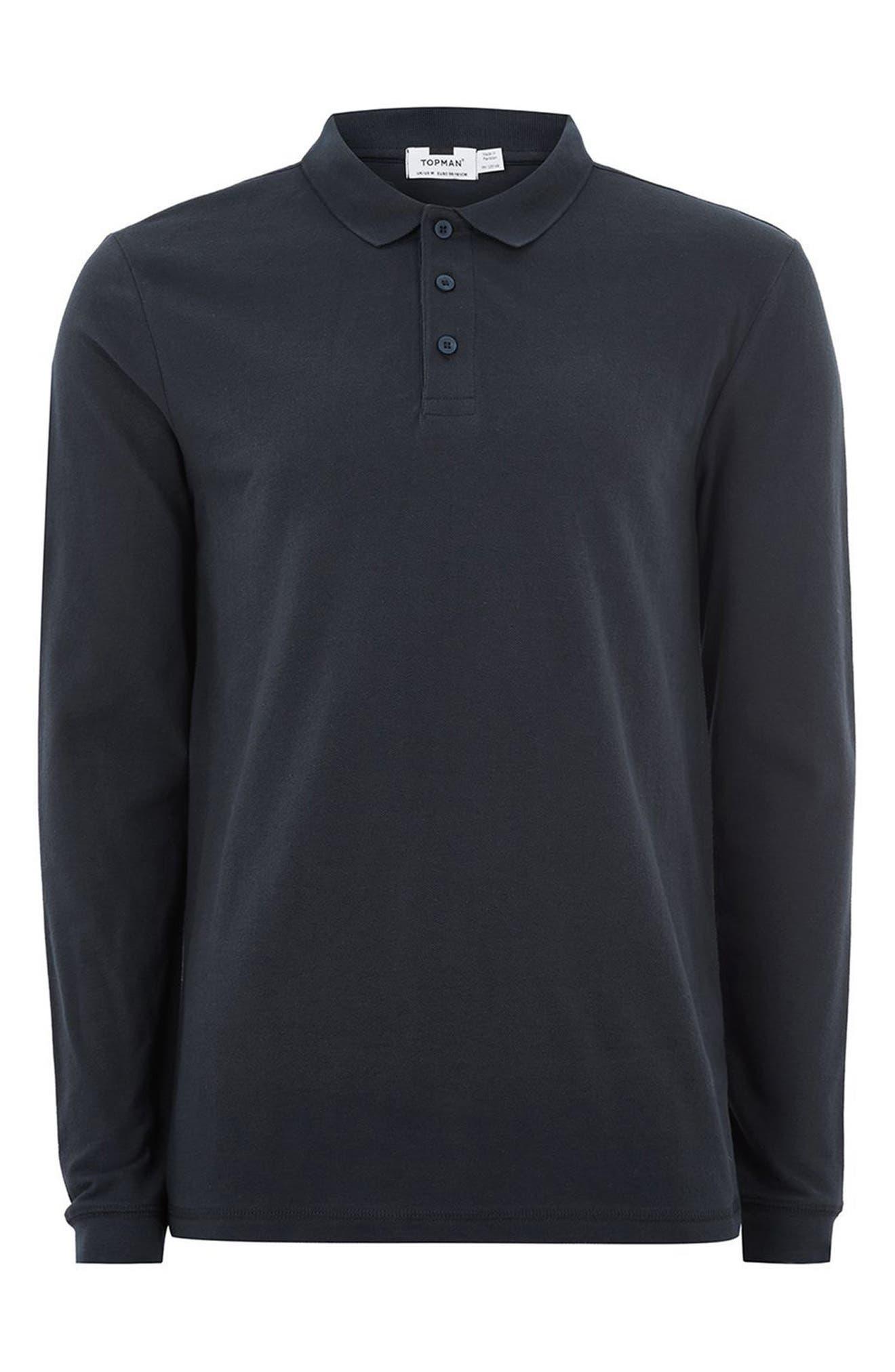 Leon Muscle Fit Long Sleeve Polo,                             Alternate thumbnail 4, color,                             Dark Blue