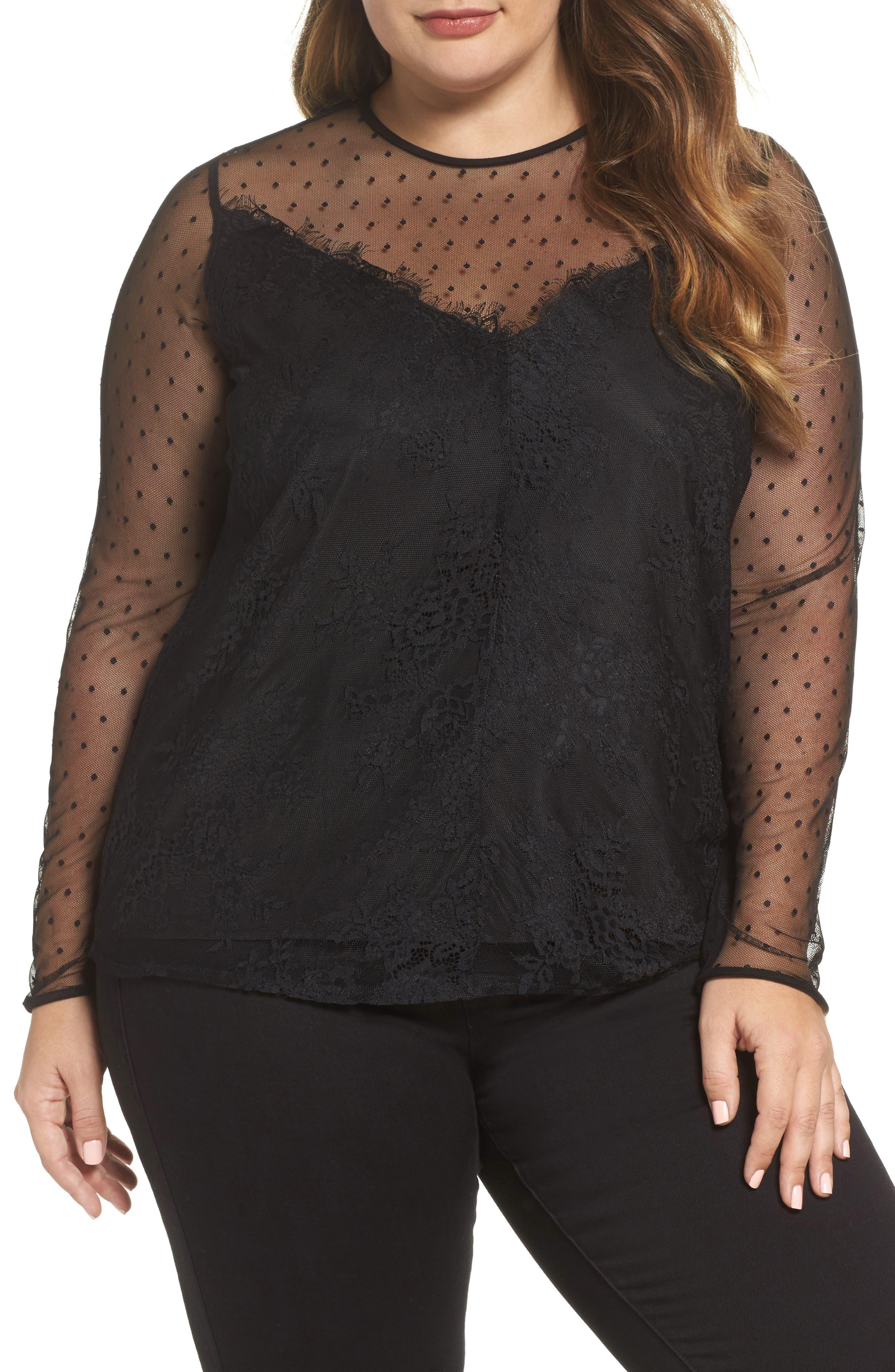 Mesh & Lace Swing Top,                         Main,                         color, Black