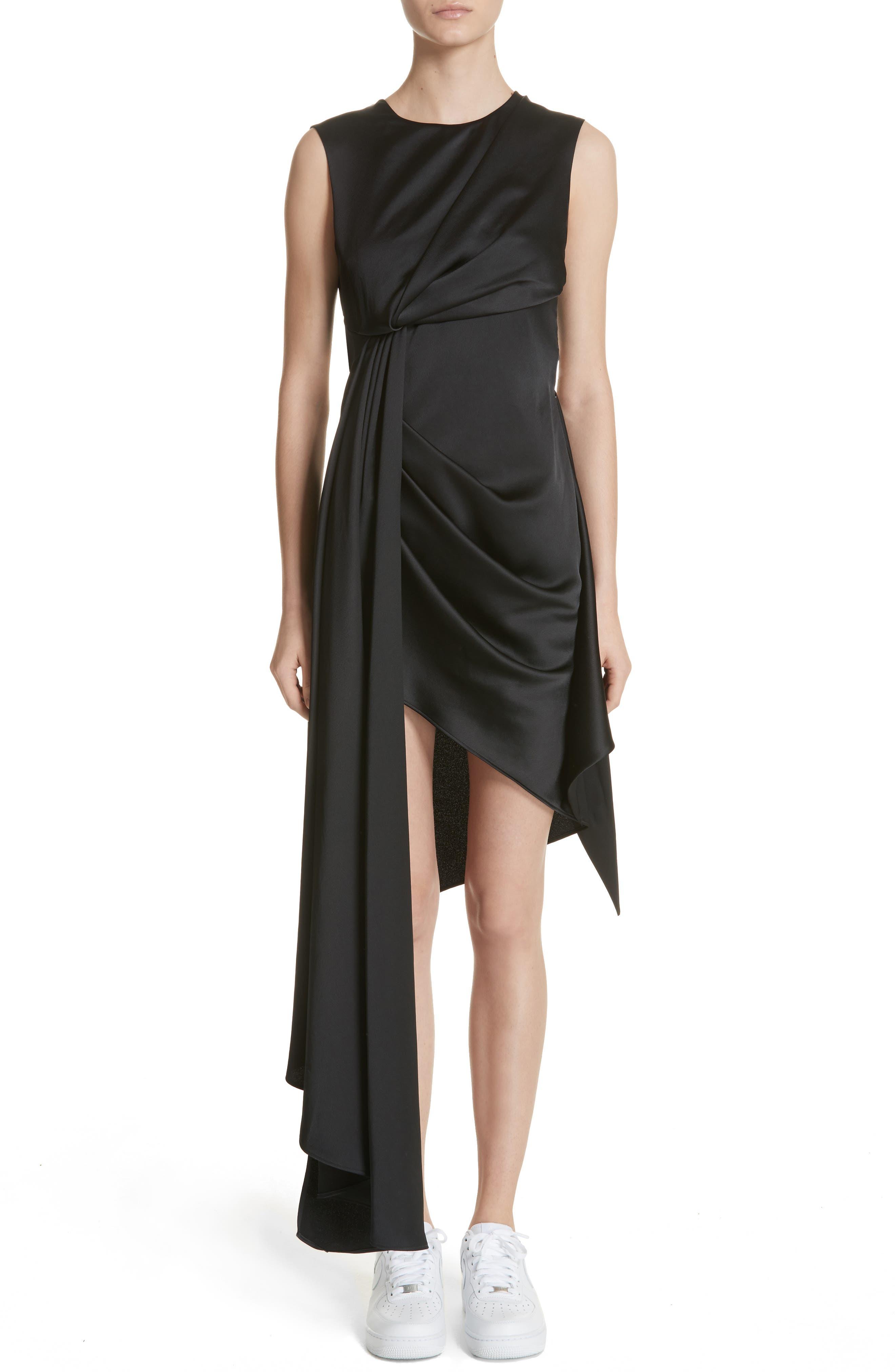 Asymmetric Satin Dress,                         Main,                         color, Black/ White