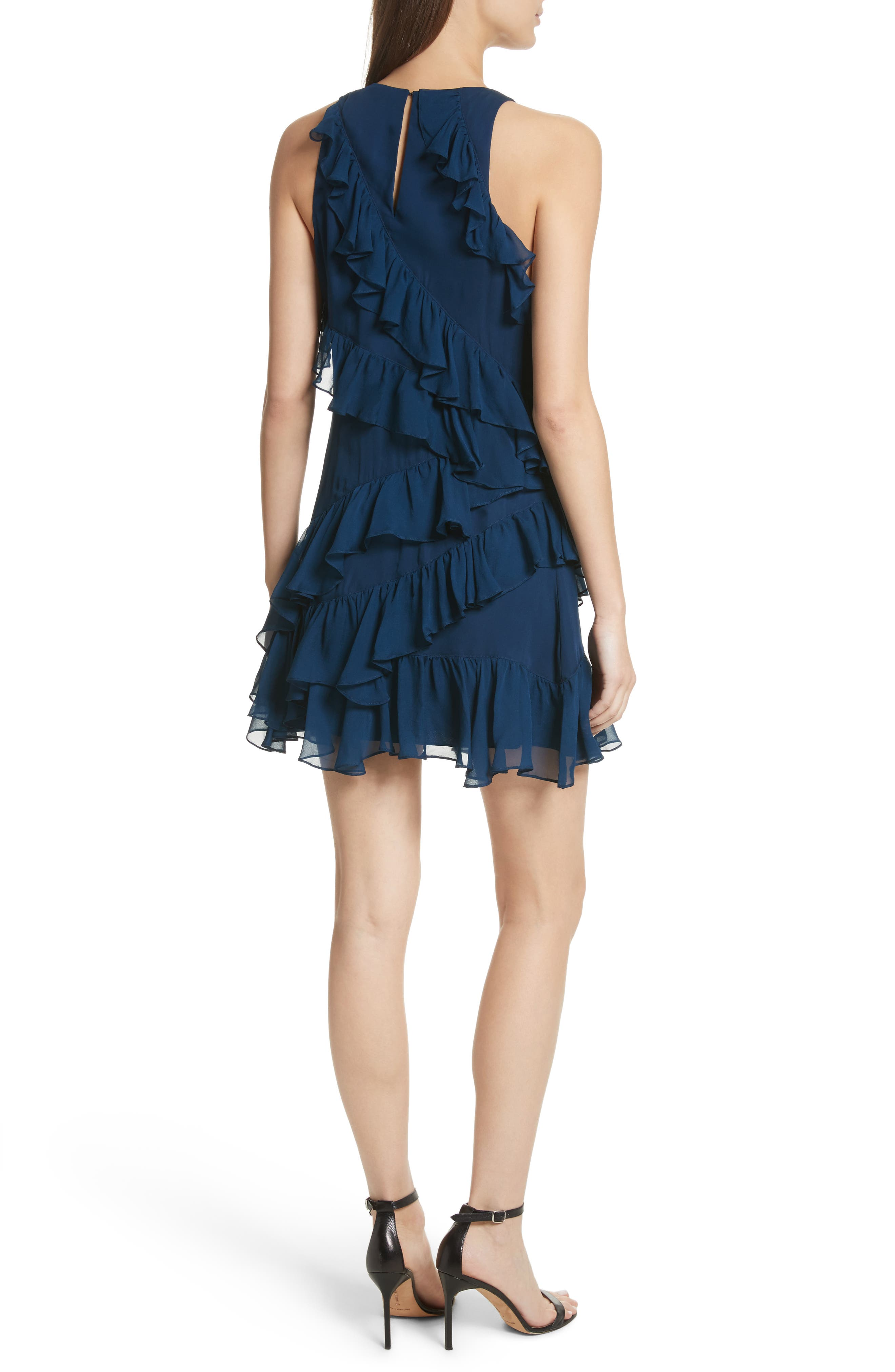 Taghrid Ruffle Silk Dress,                             Alternate thumbnail 2, color,                             Lapis