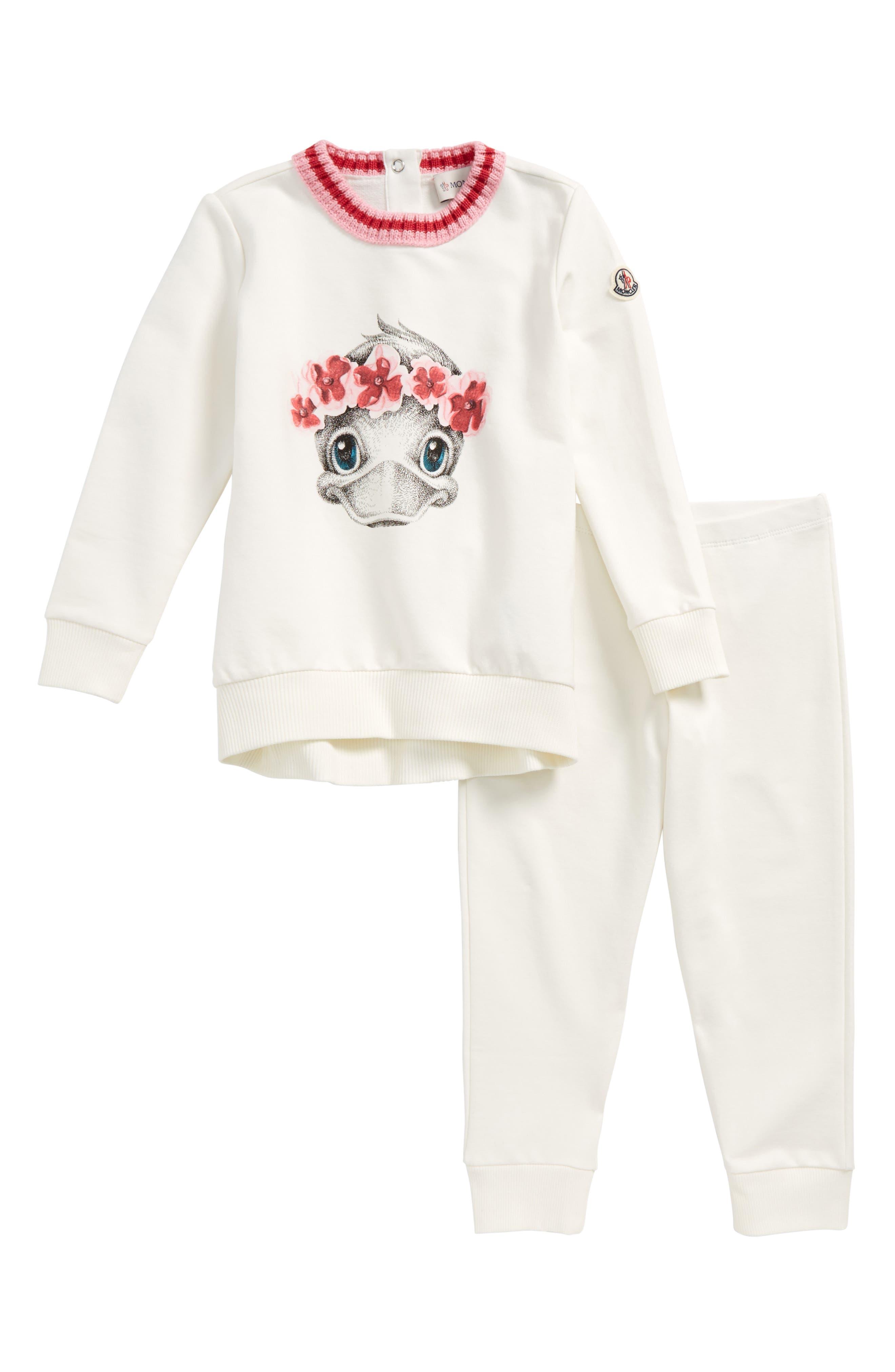 Main Image - Moncler Duck Graphic Sweatshirt & Pants Set (Toddler Girls)