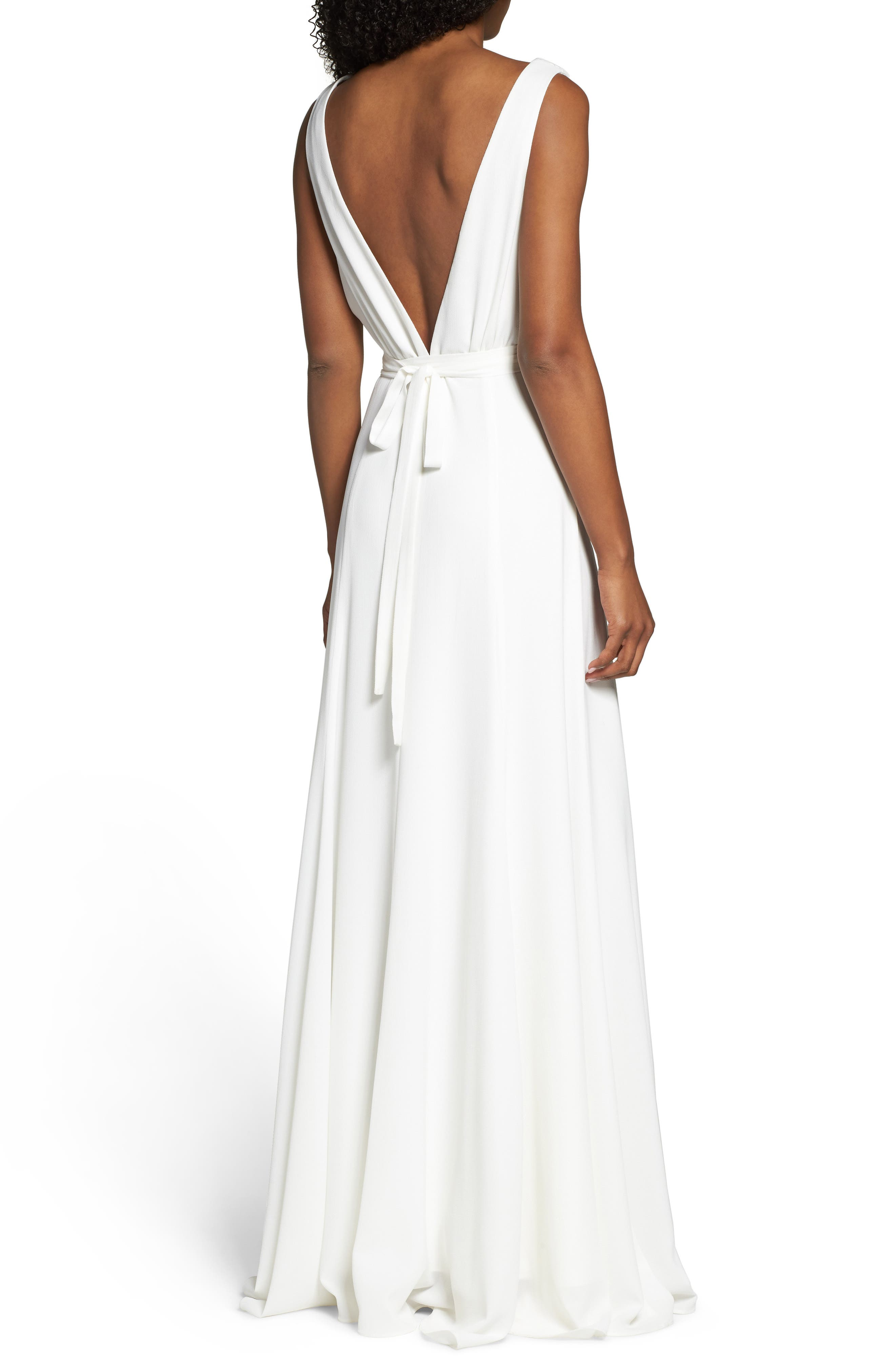 Plunging Wrap Dress,                             Alternate thumbnail 2, color,                             White