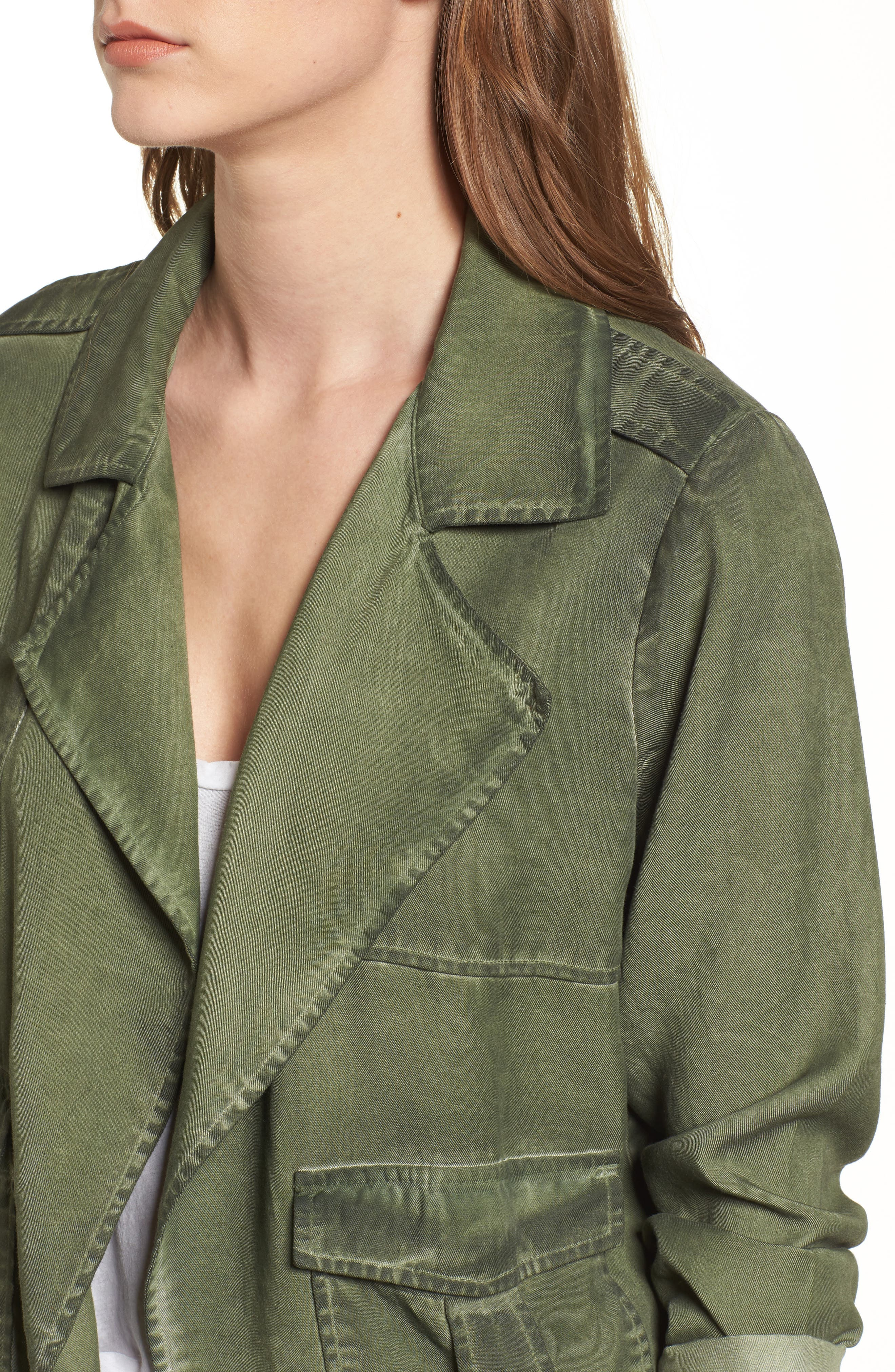 Draped Front Jacket,                             Alternate thumbnail 4, color,                             Olive