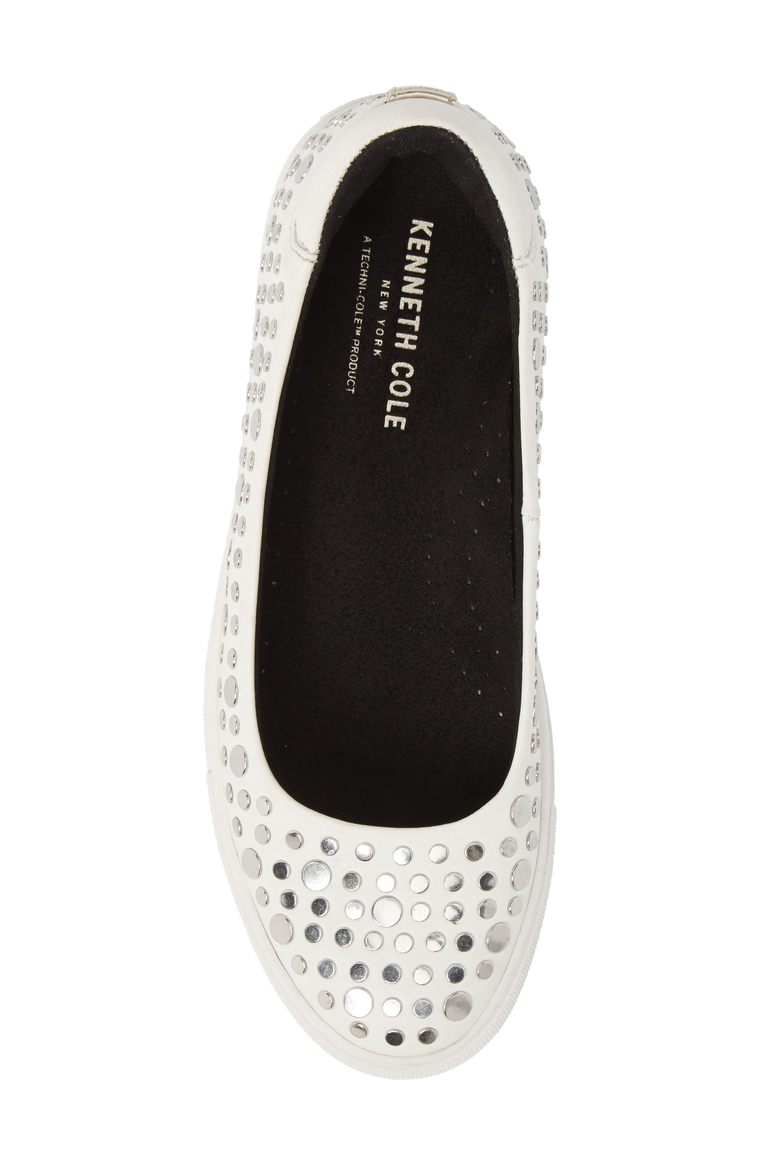 Kassie Studded Flat,                             Alternate thumbnail 5, color,                             White Leather