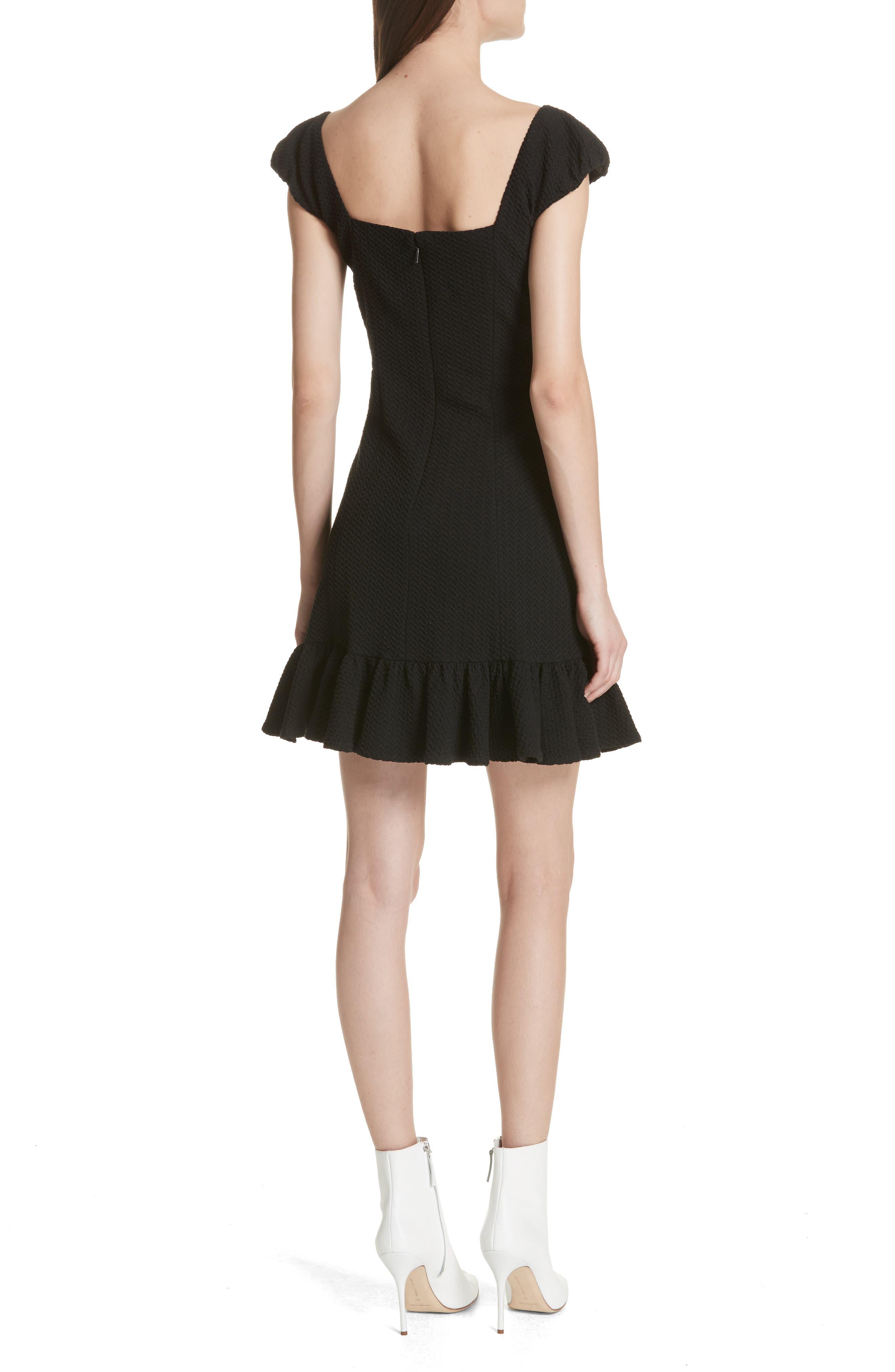 Cap Sleeve Ruffle Hem Dress,                             Alternate thumbnail 2, color,                             Black