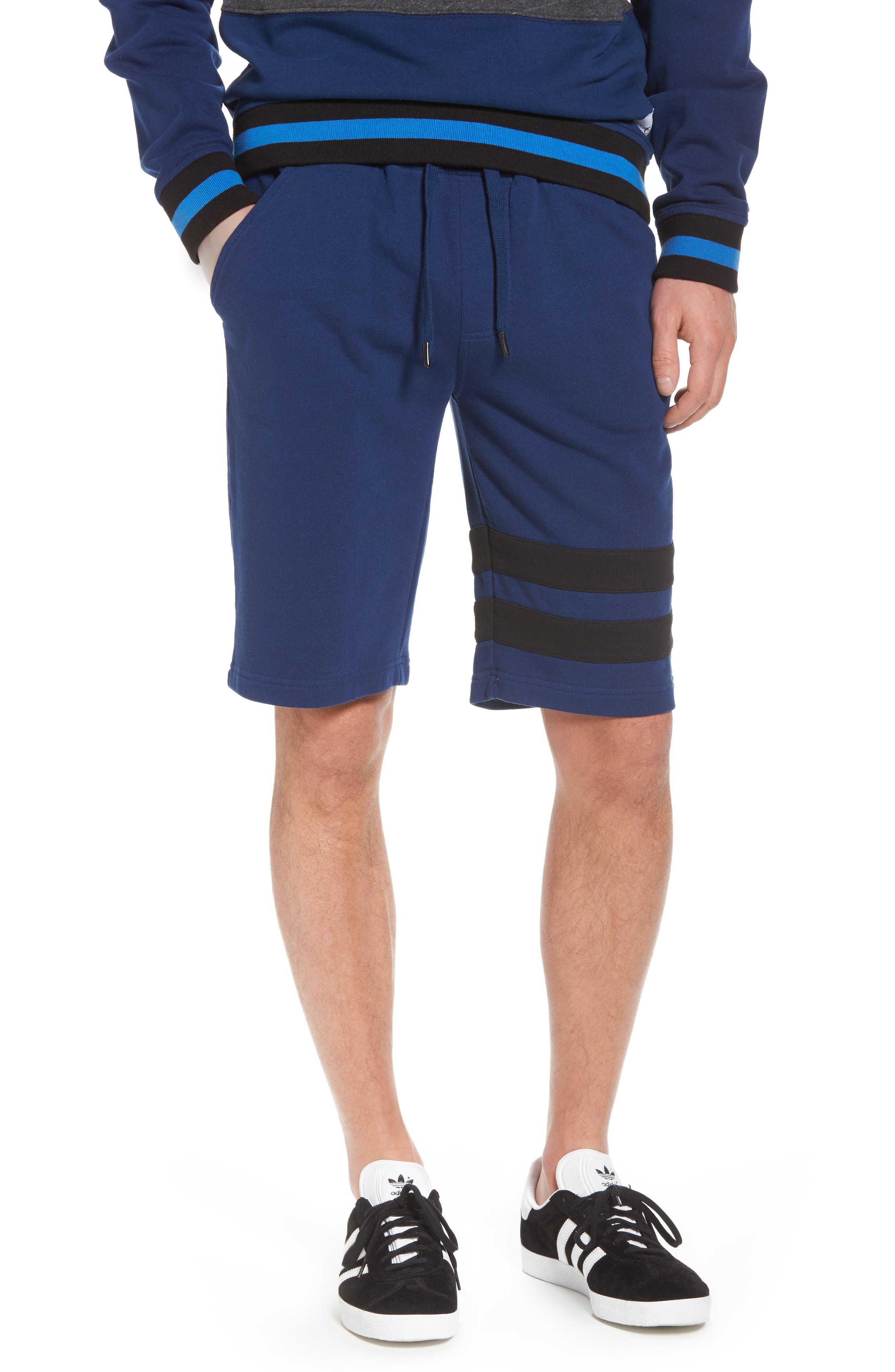 Stripe Athletic Shorts,                             Main thumbnail 1, color,                             Night Rider