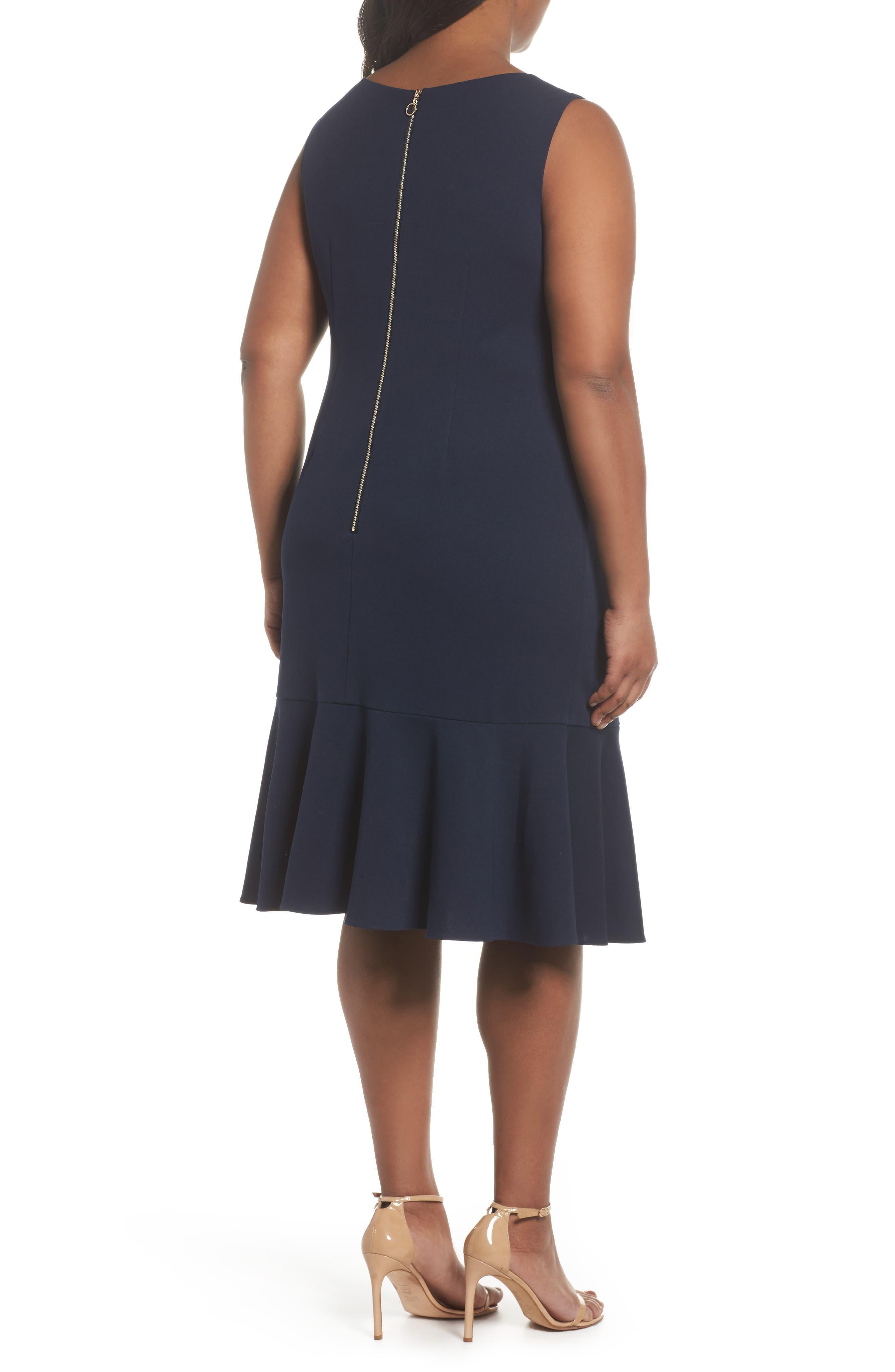 Crepe Flounce Dress,                             Alternate thumbnail 2, color,                             Blue Moon