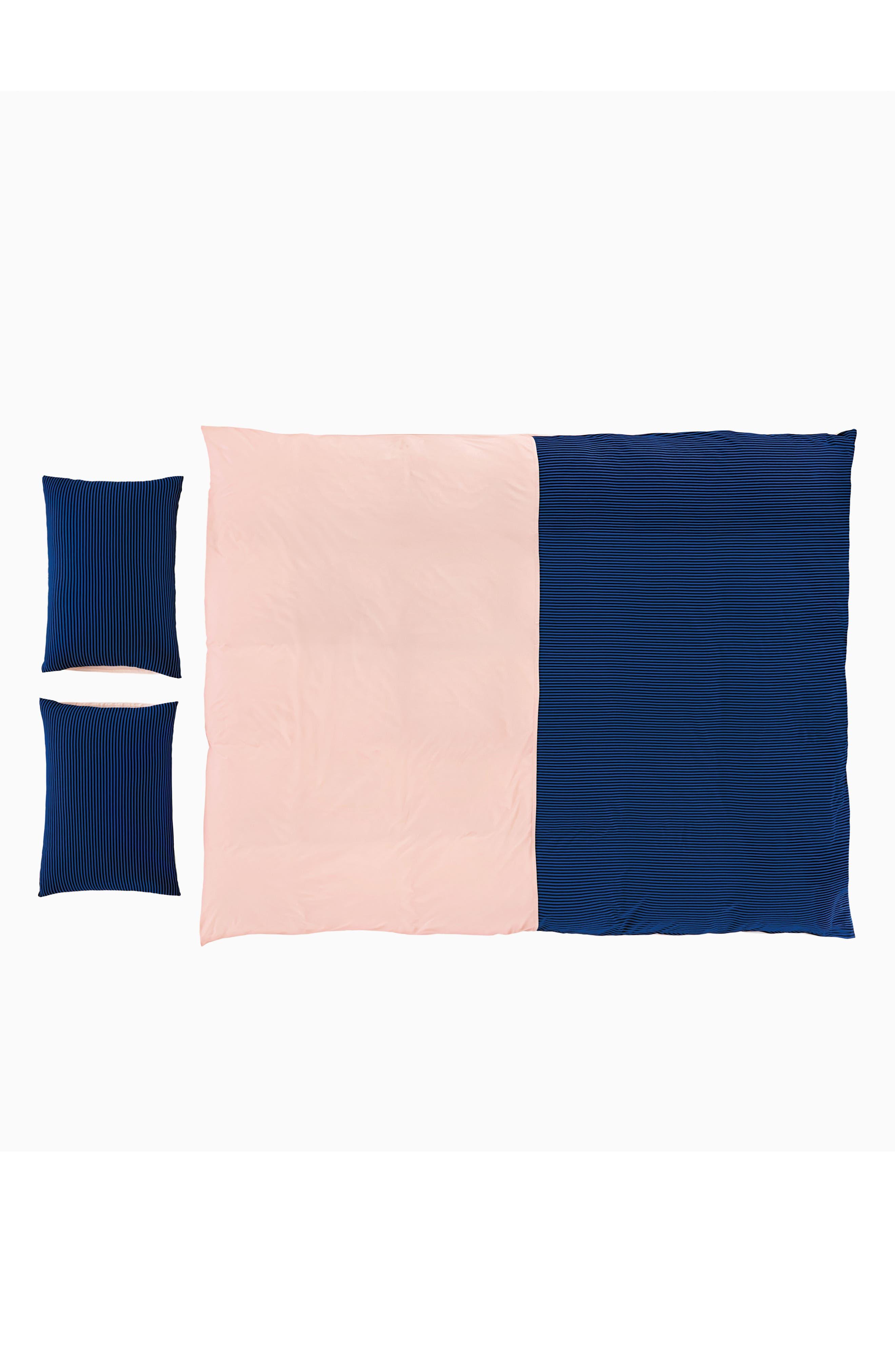 Samuel Duvet Cover,                         Main,                         color, Pink/ Cobalt/ Black