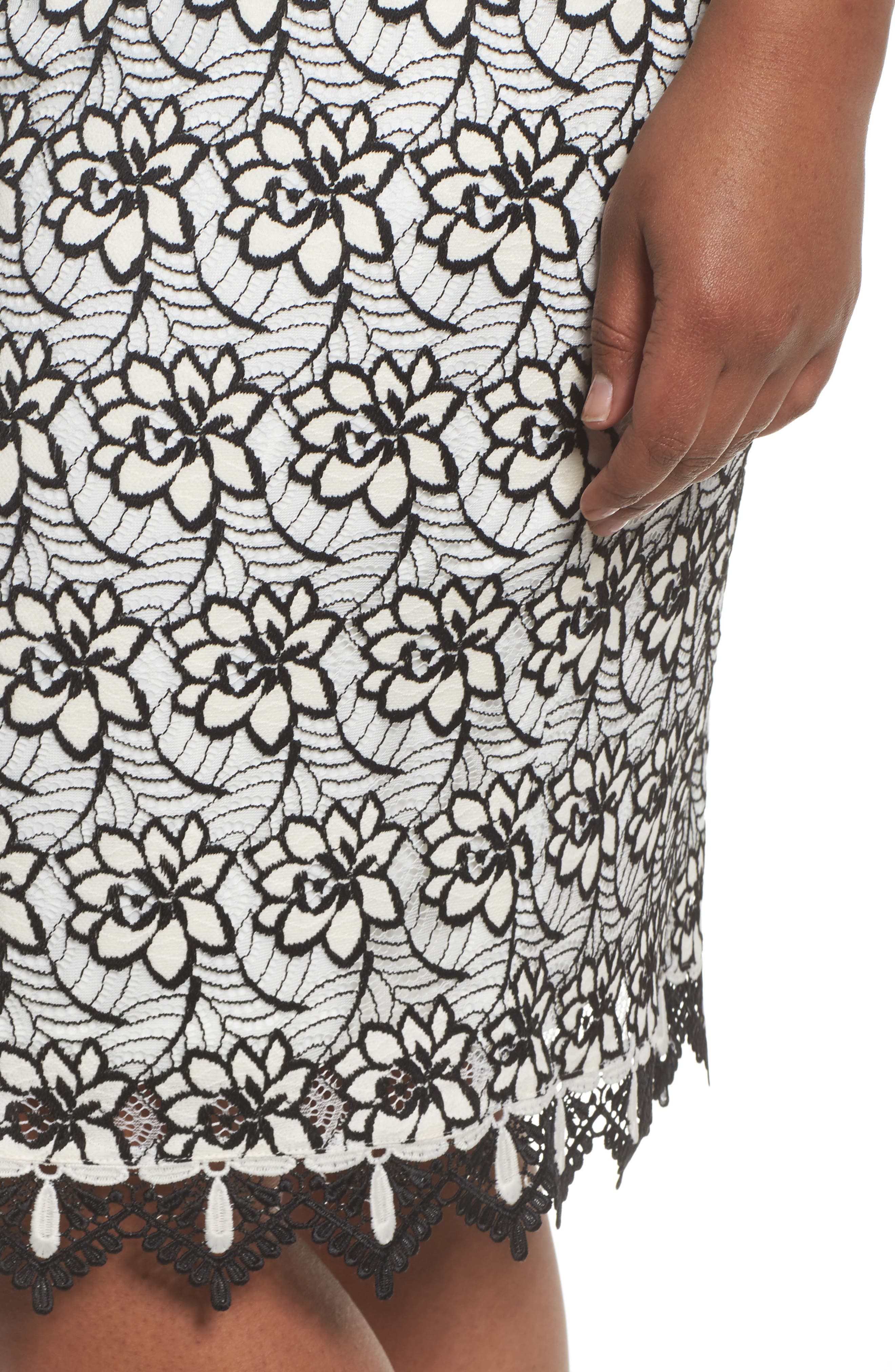 Lace Trim Sheath Dress,                             Alternate thumbnail 4, color,                             Ivory/ Black