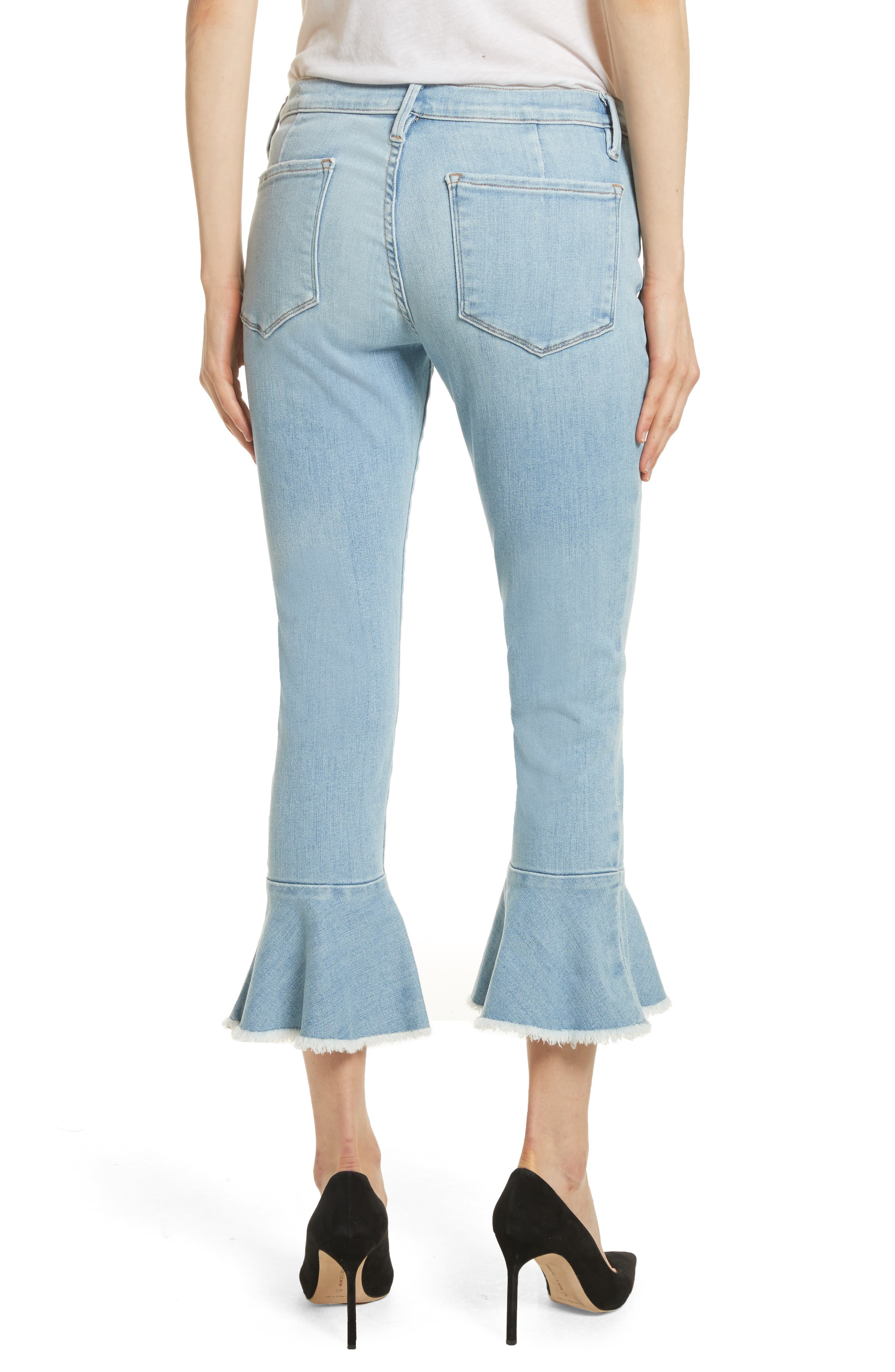 Le Skinny de Jeanne Flounce Skinny Jeans,                             Alternate thumbnail 2, color,                             Limer Stone