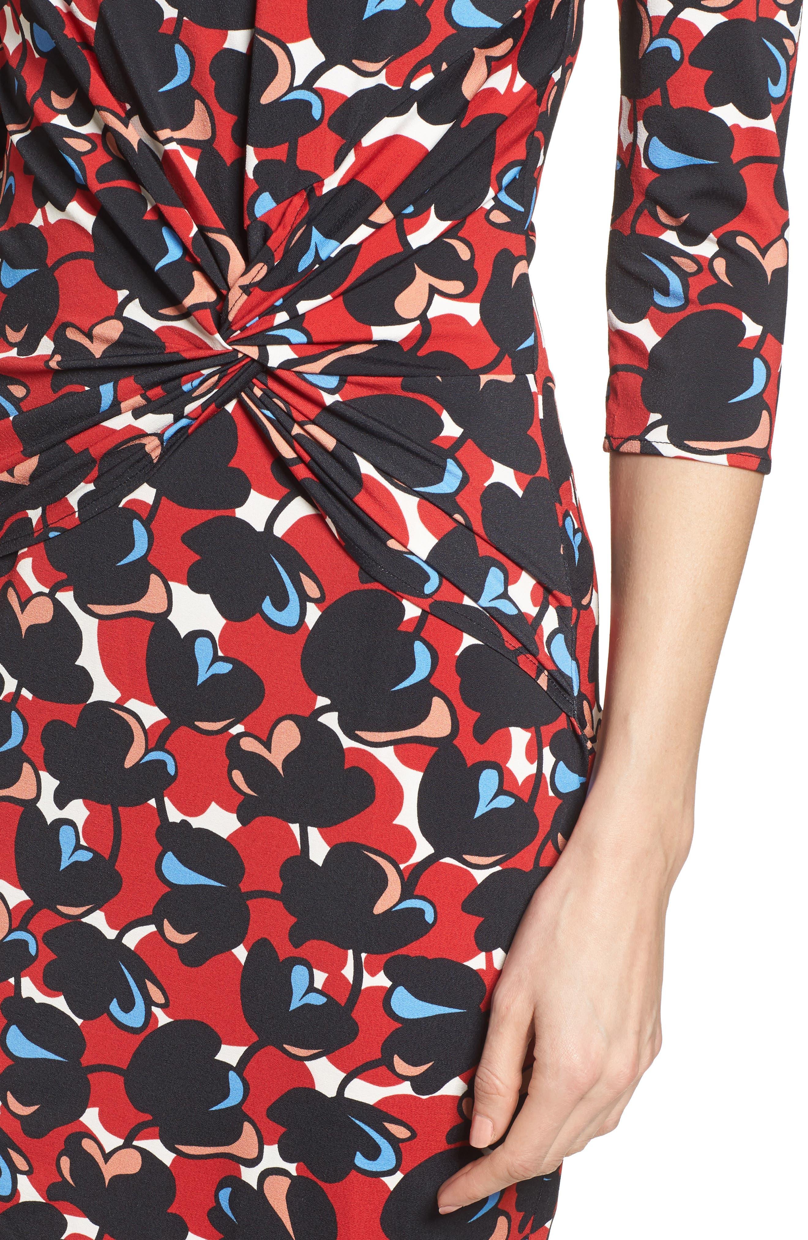 Eleika Print Jersey Sheath Dress,                             Alternate thumbnail 4, color,                             Multicolor Flower Print