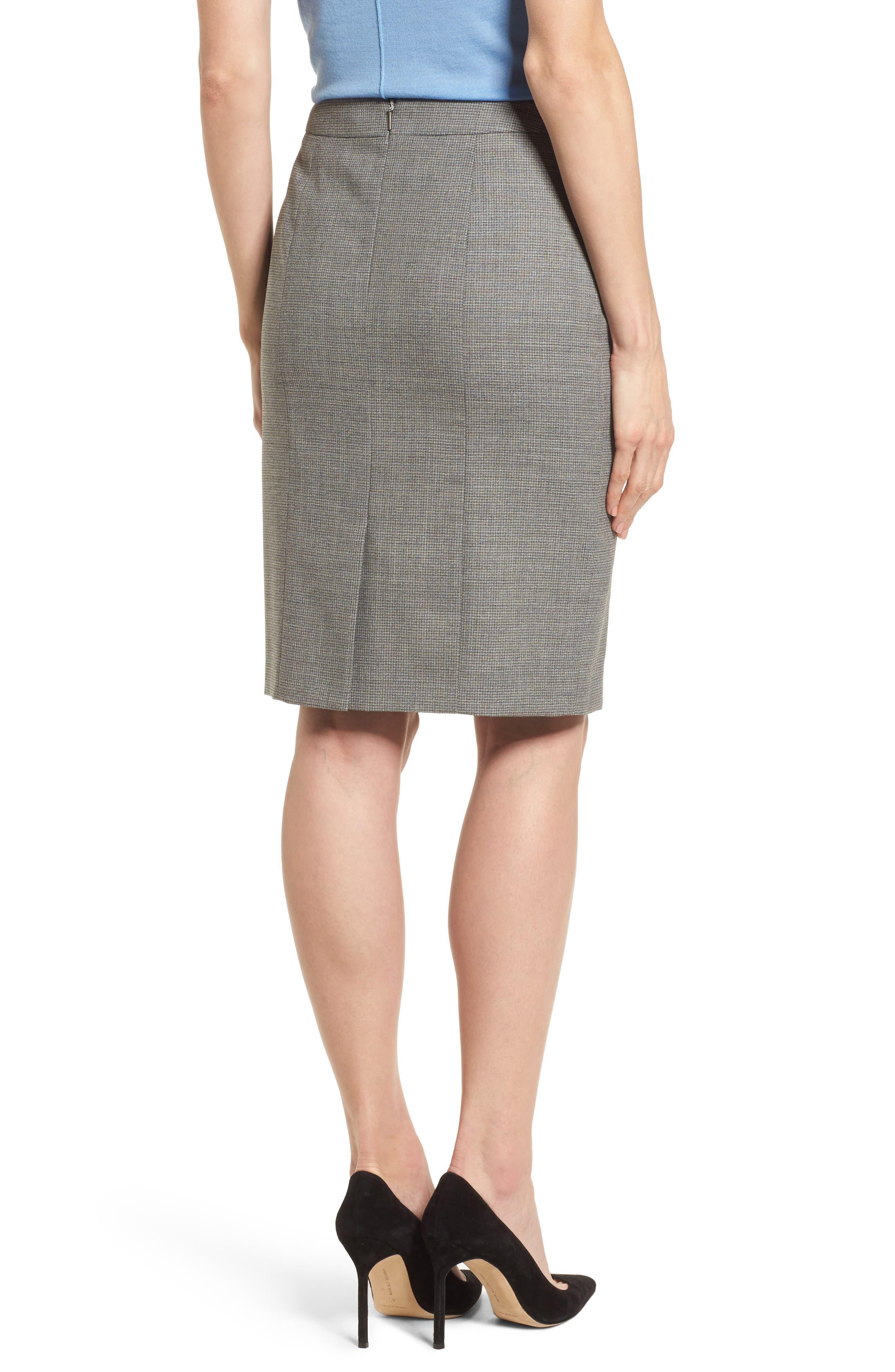 Vewisa Check Wool Suit Skirt,                             Alternate thumbnail 2, color,                             Cozy Grey Melange Fantasy
