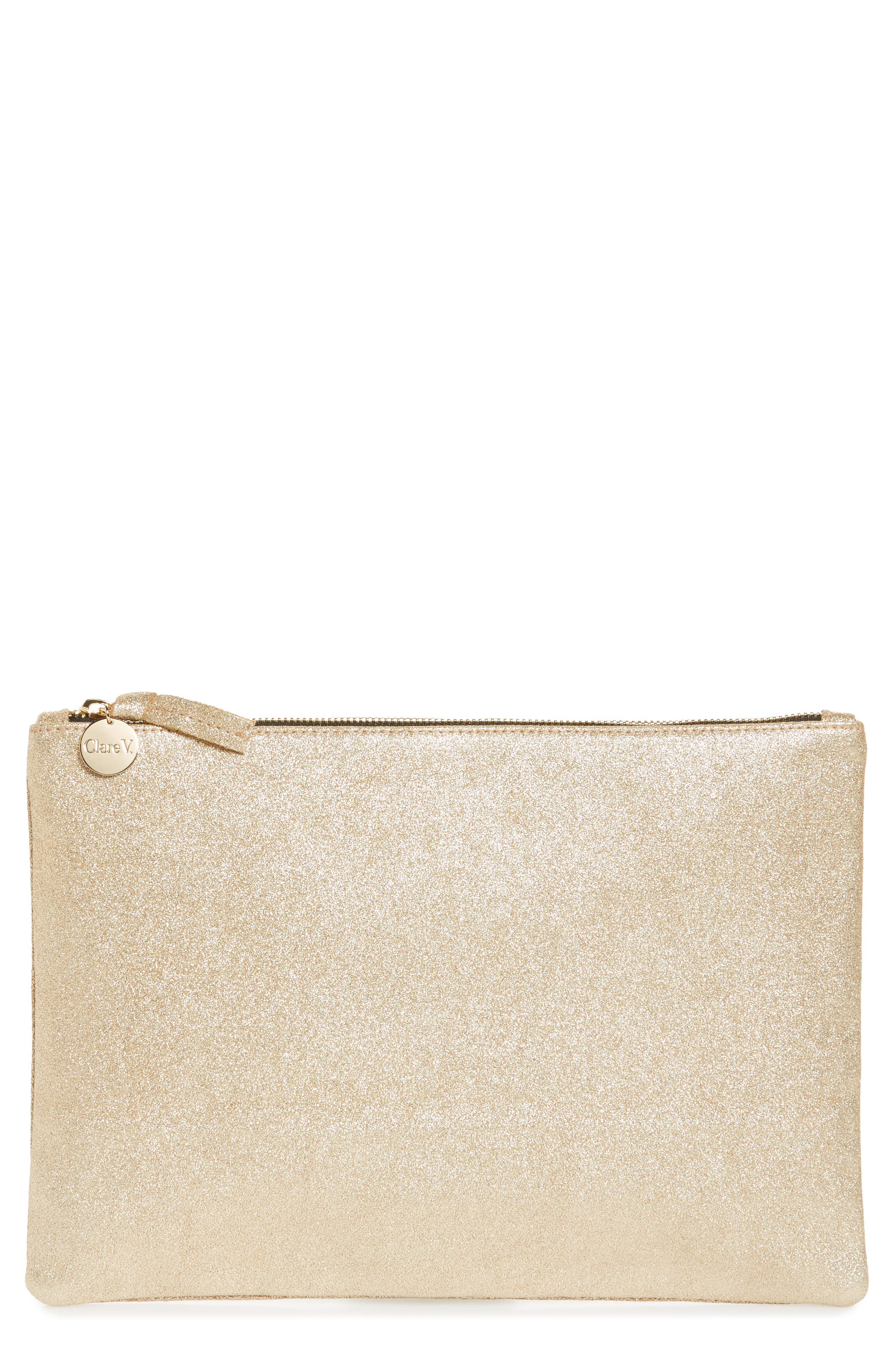 Maison Metallic Suede Flat Clutch,                         Main,                         color, Gold Shimmer Suede