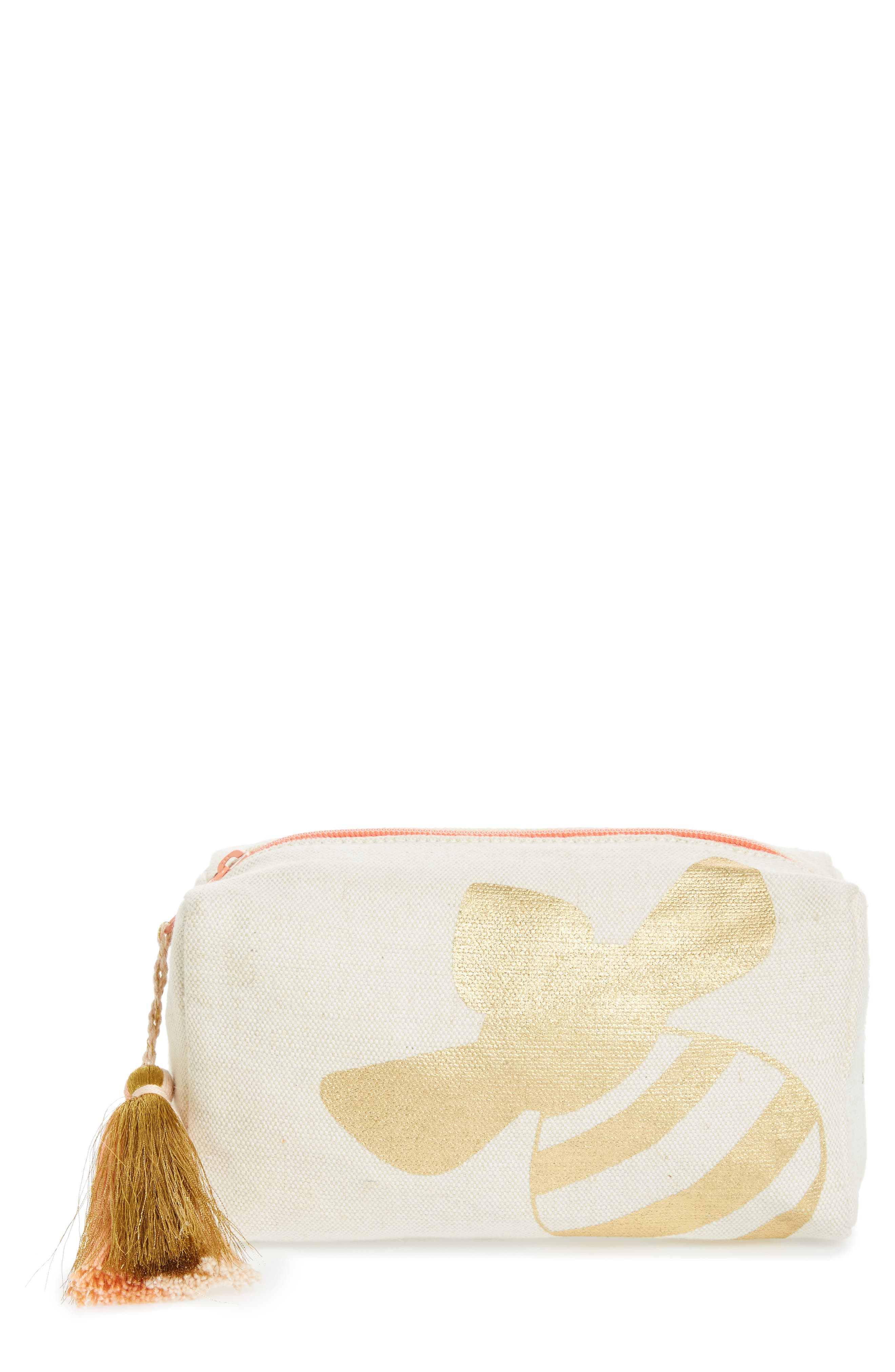 Bee Canvas Cosmetic Pouch,                         Main,                         color, Gold