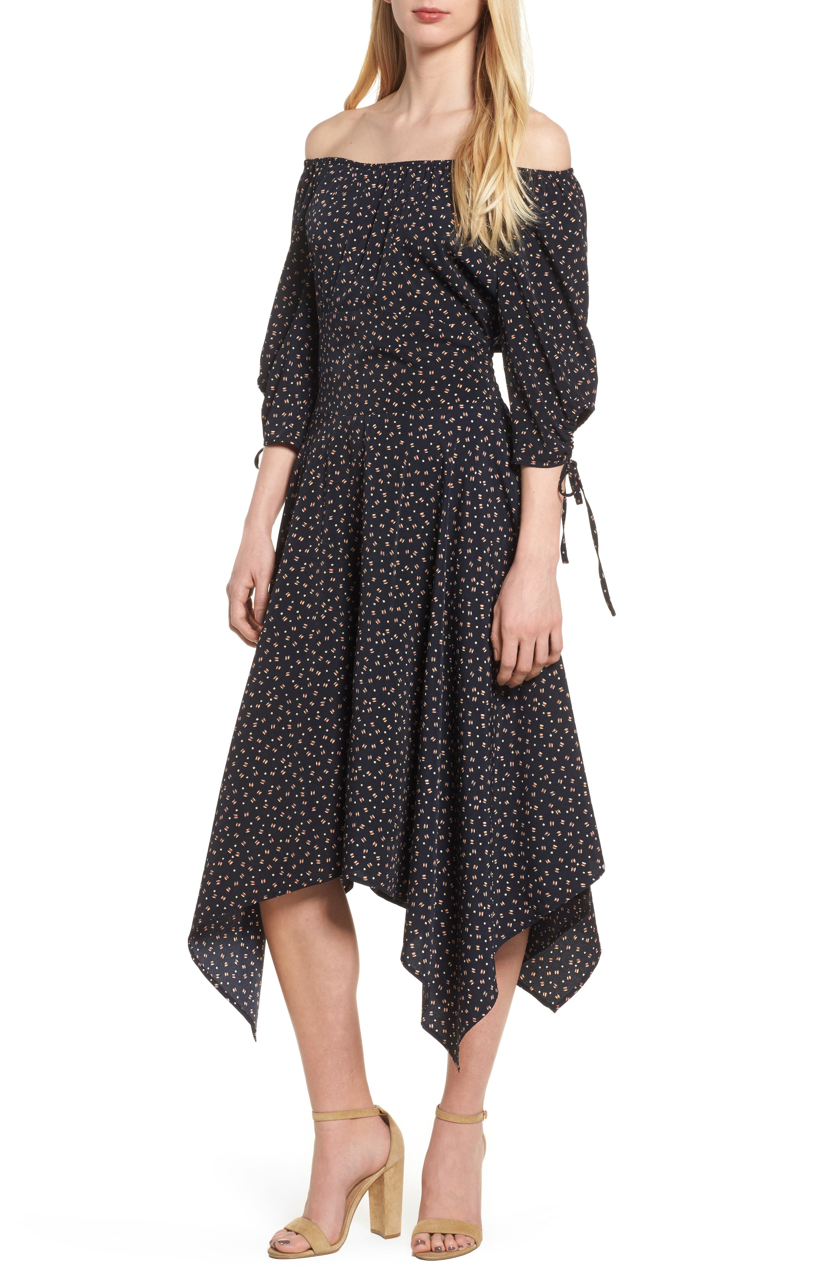 Bishop + Young Off the Shoulder Dress,                         Main,                         color, Navy Print