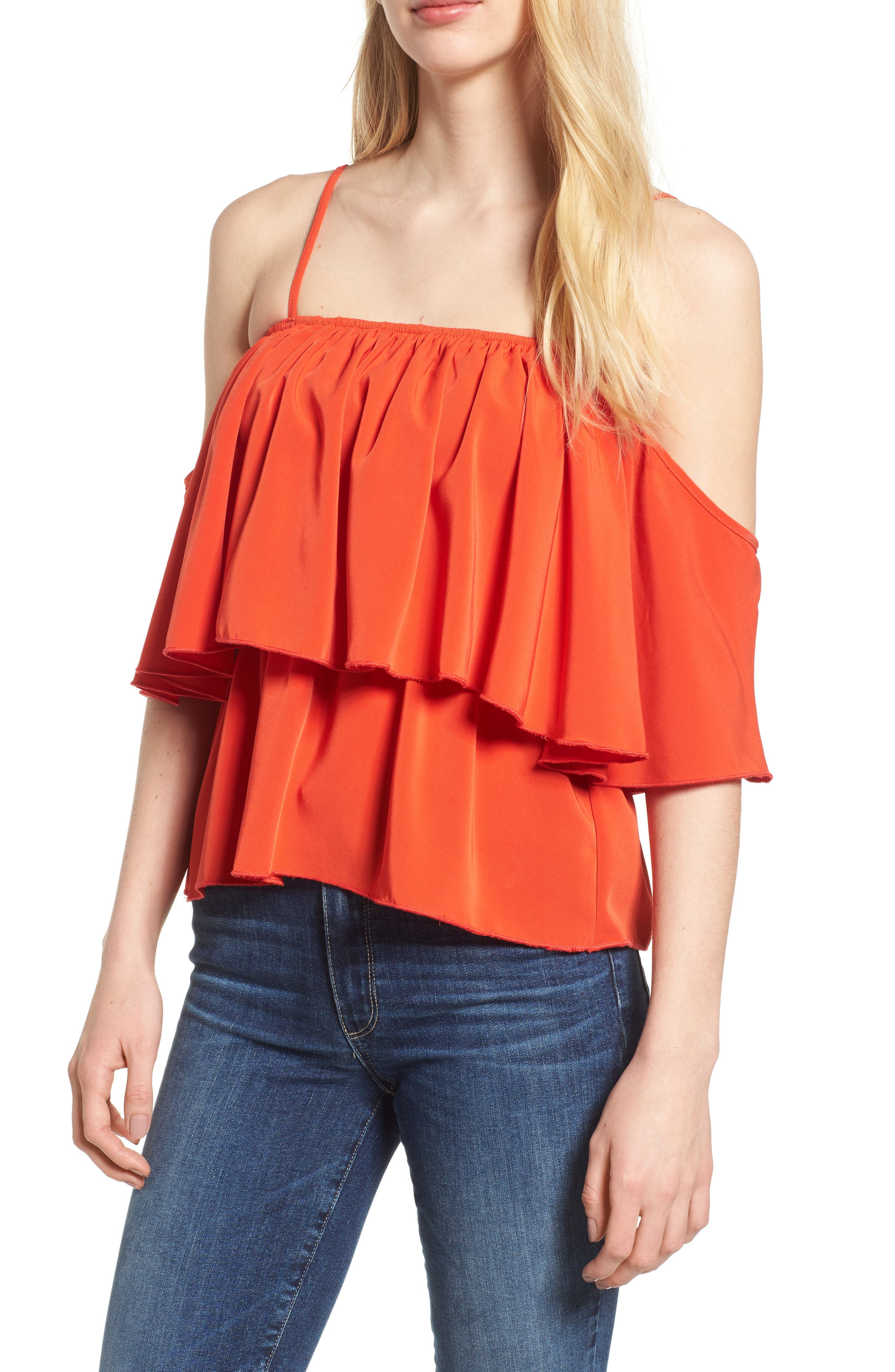 Bishop + Young Lilly Tiered Top,                         Main,                         color, Poppy Pop