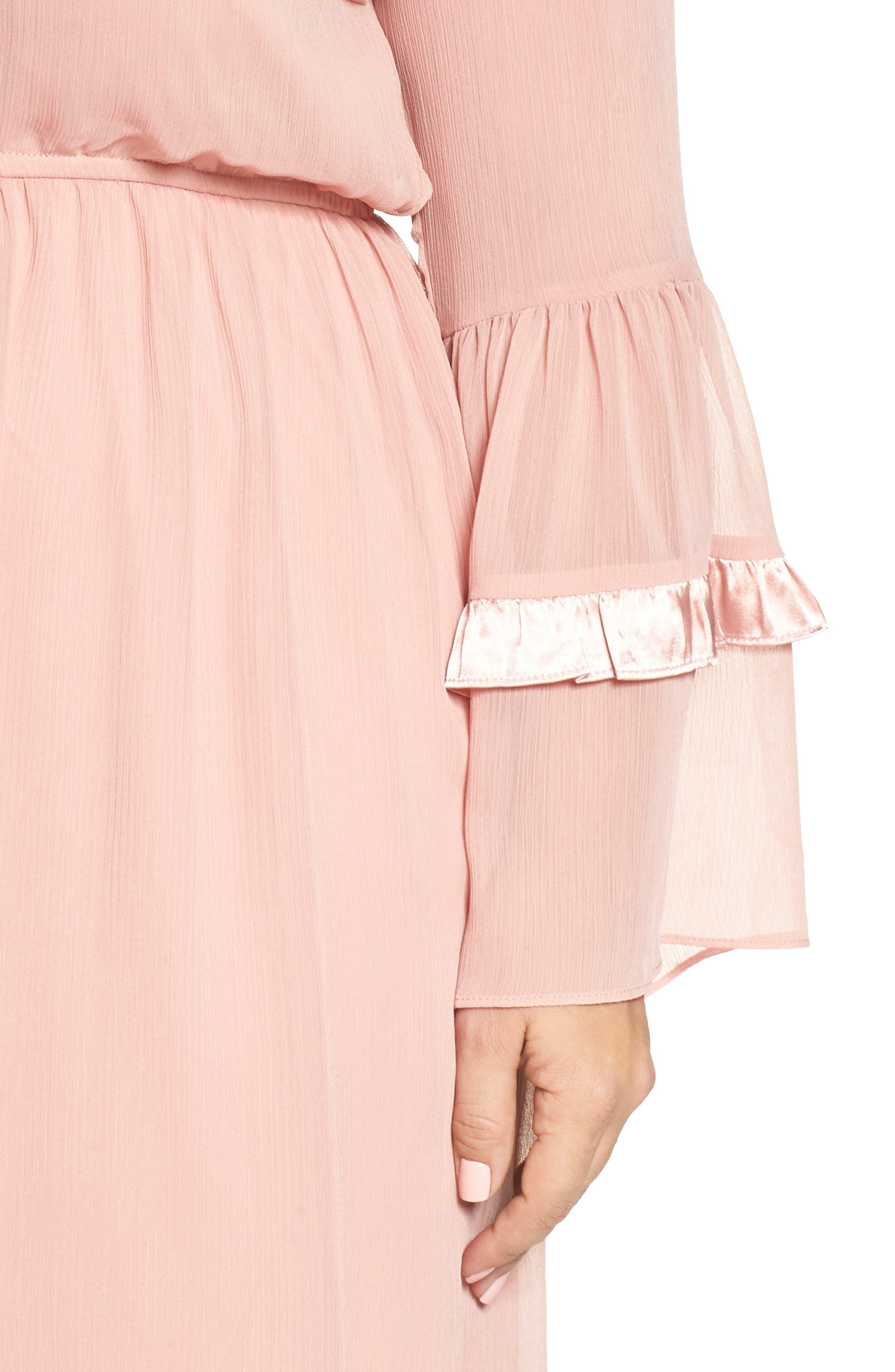Satin Trim Crinkle Dress,                             Alternate thumbnail 4, color,                             Blush