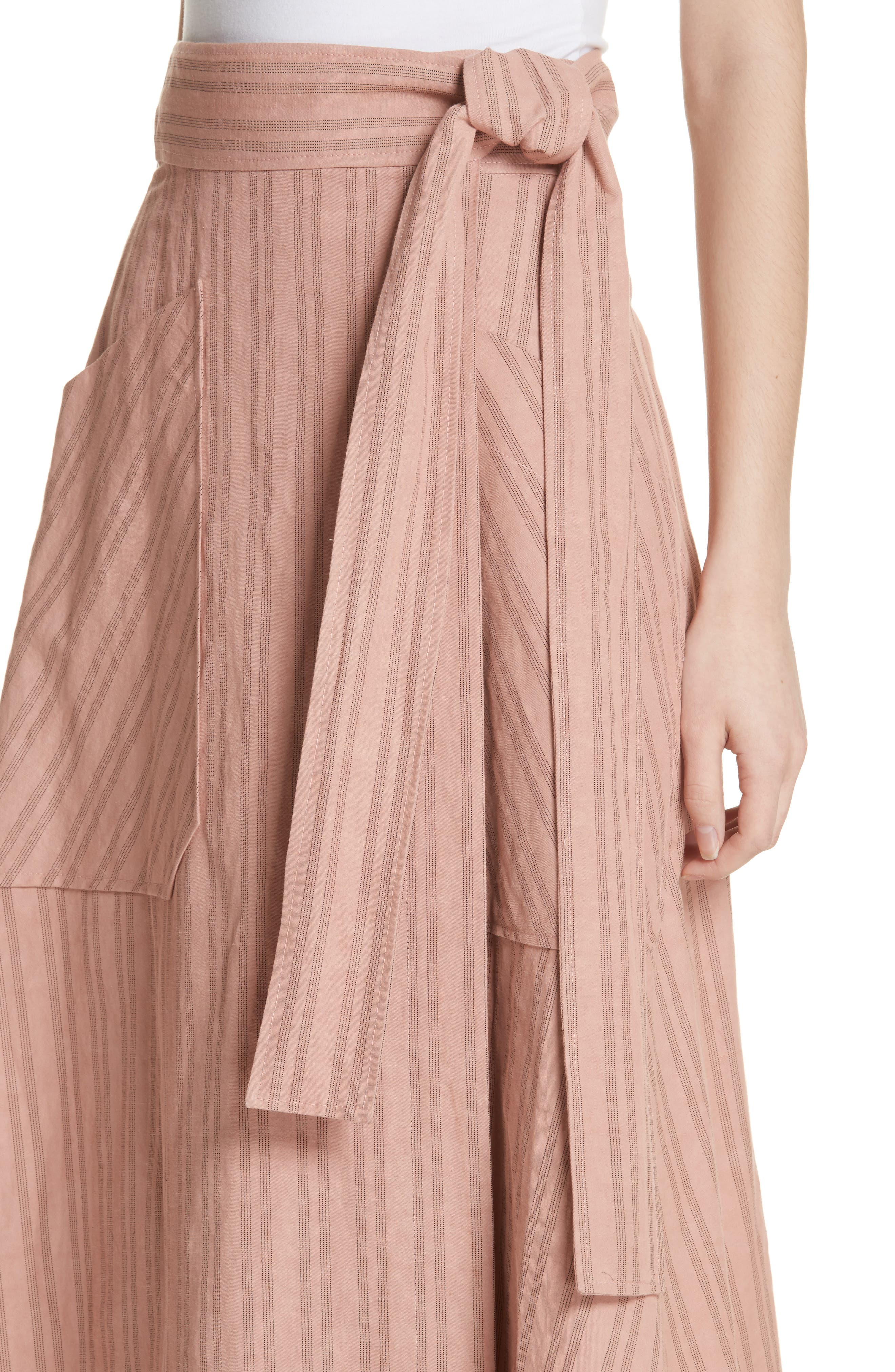 Stripe Wrap Midi Skirt,                             Alternate thumbnail 4, color,                             Rose Hip/ Black